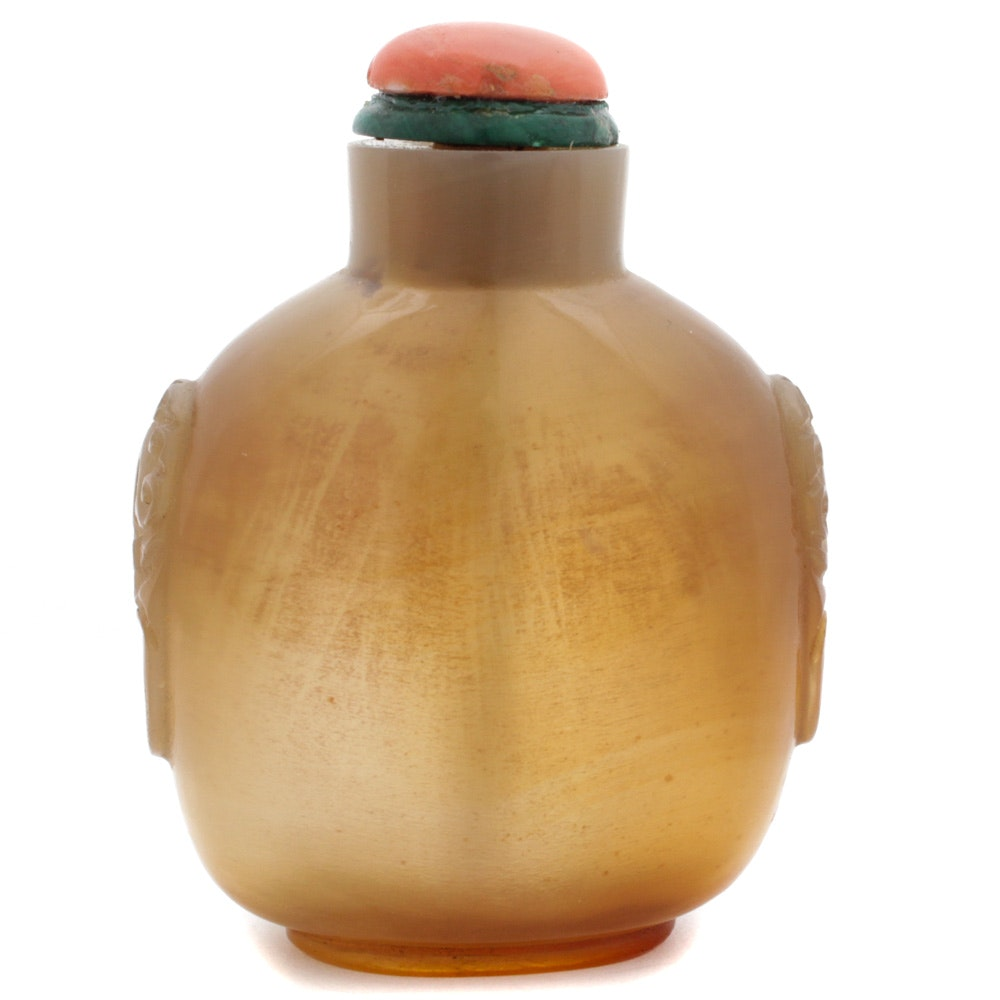 Chinese Carved Agate Snuff Bottle with Coral Stopper