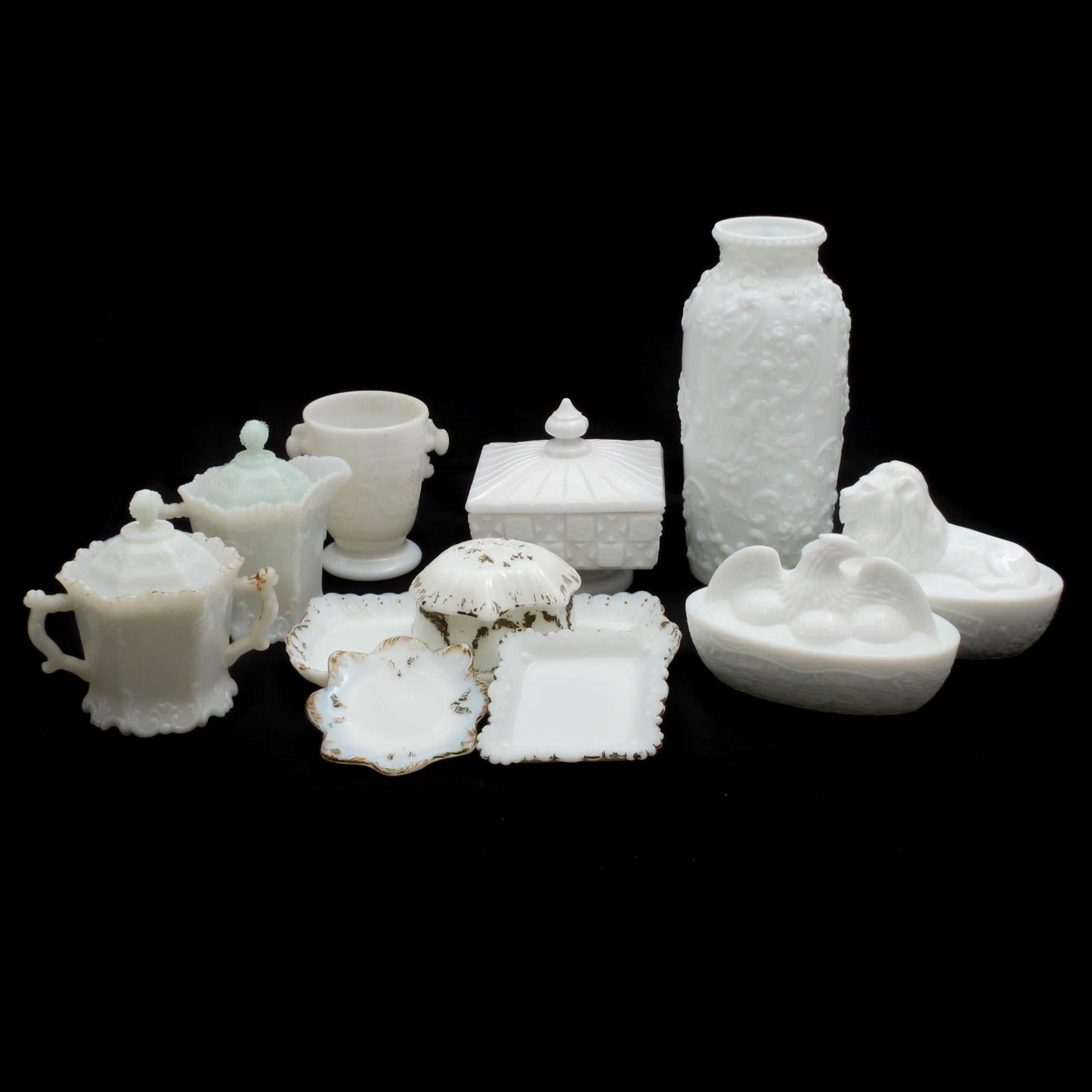 "Victorian Era Milk Glass Including ""American Hen"" Covered Dish"