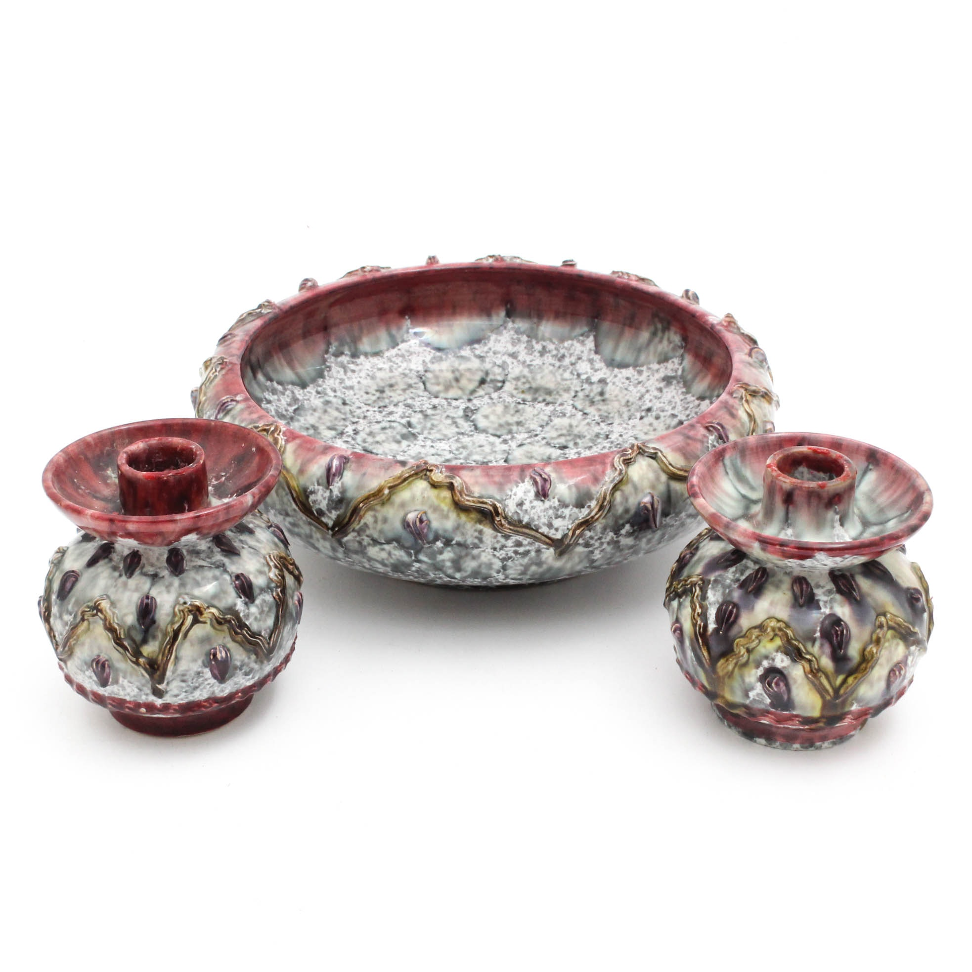 Italian Hand-Painted Centerpiece Bowl and Candle Holders for Ebeling & Reuss