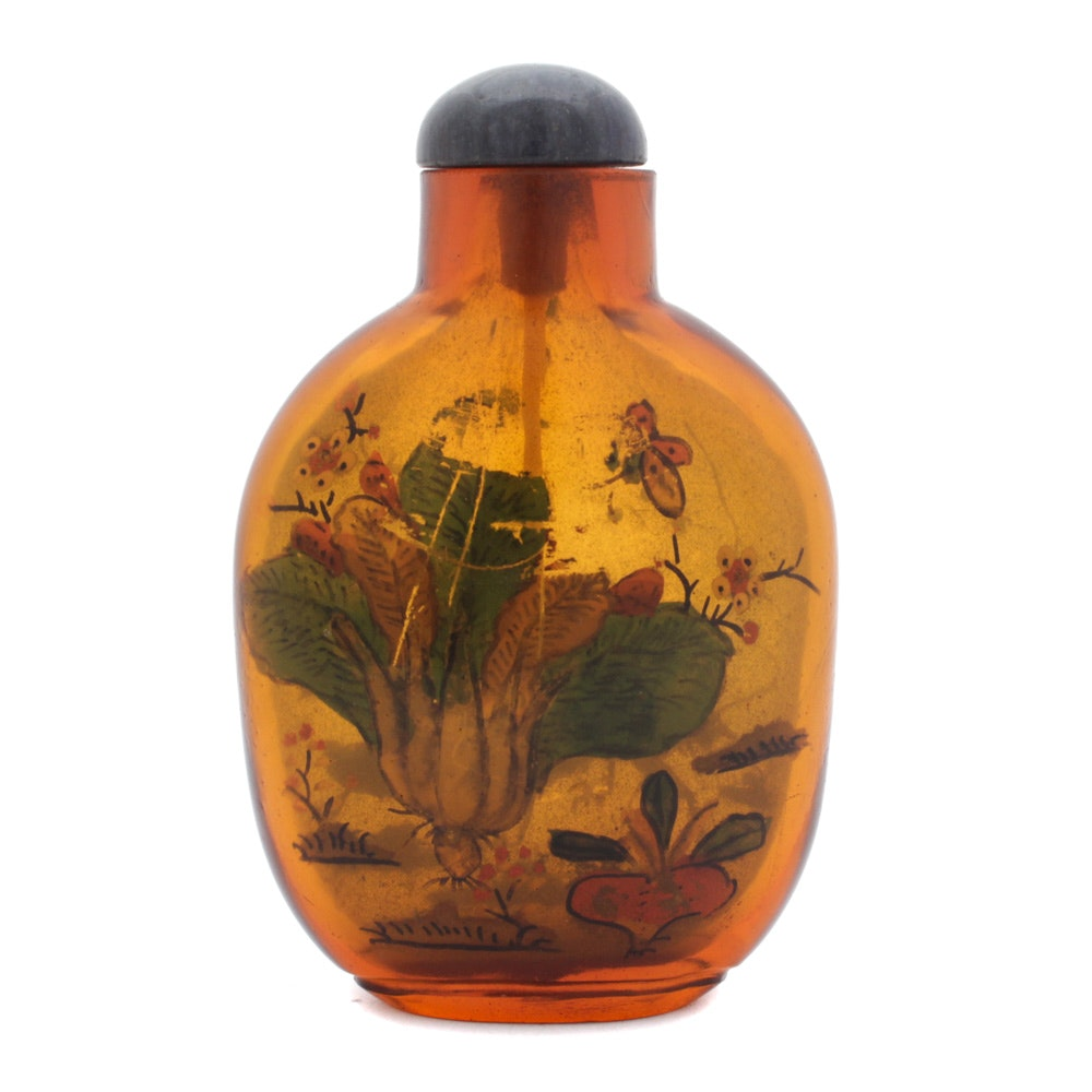 Chinese Reverse Painted Glass Snuff Bottle with Cricket Motif