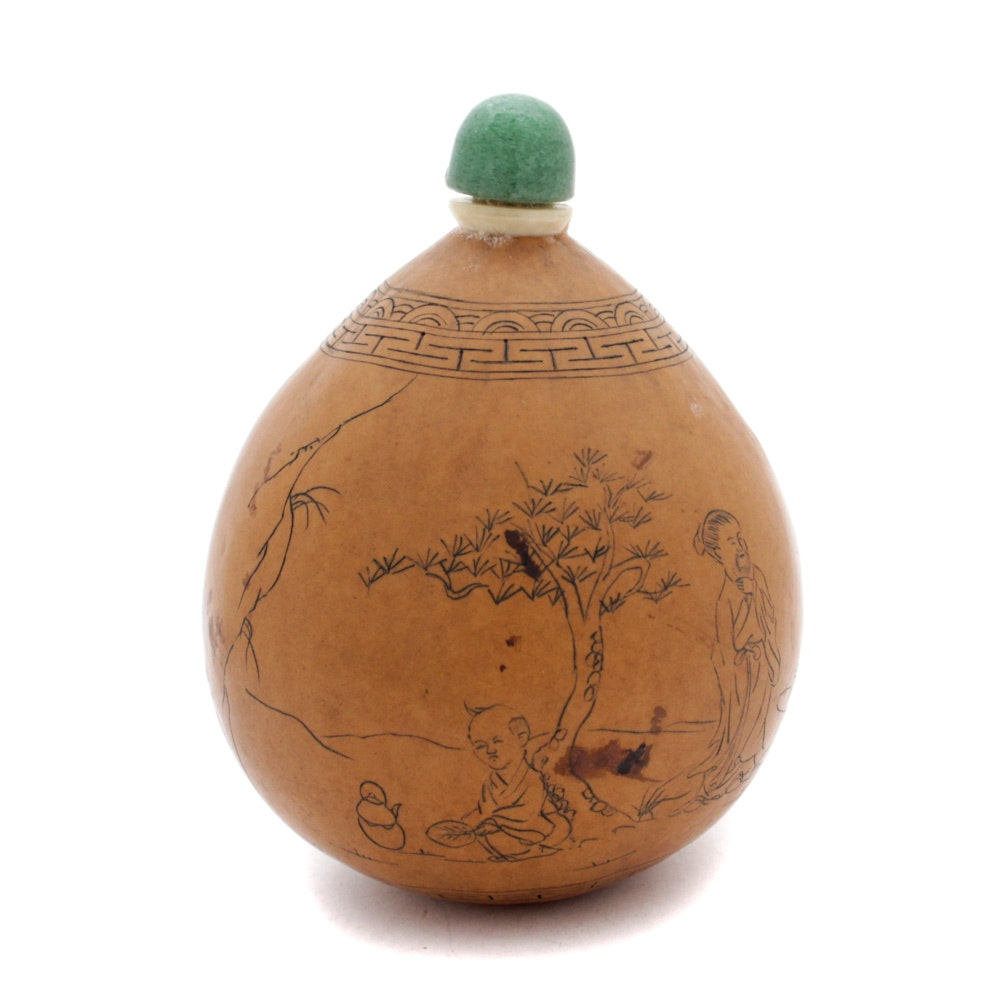 Chinese Gourd Snuff Bottle with Green Quartz Stopper