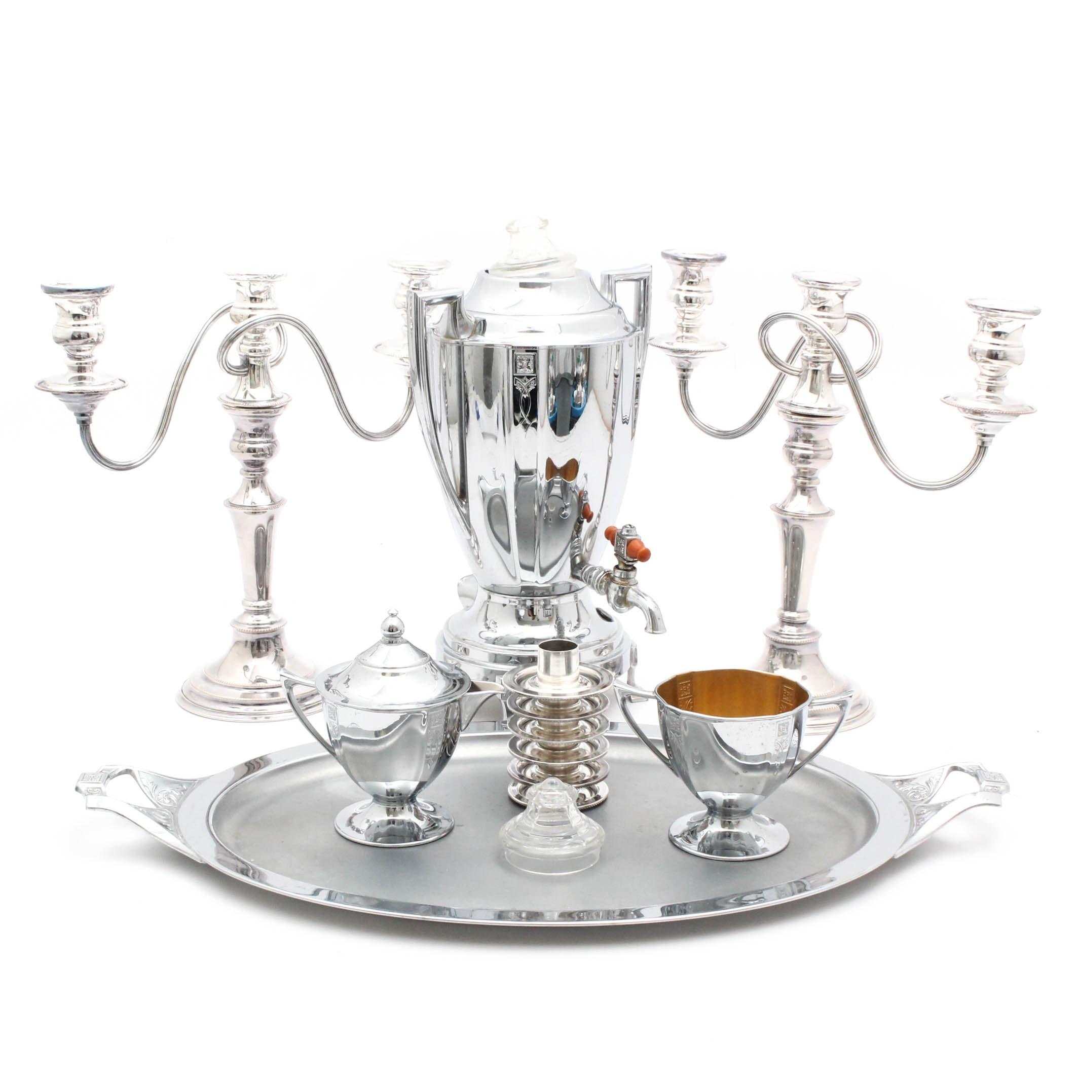 English Silverplate Candelabra and Royal Rochester Coffee Percolator Set