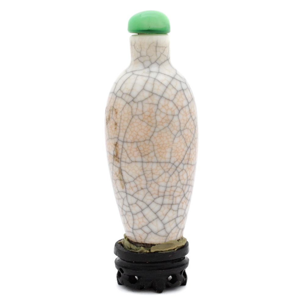 Chinese Porcelain Snuff Bottle with Glass Stopper