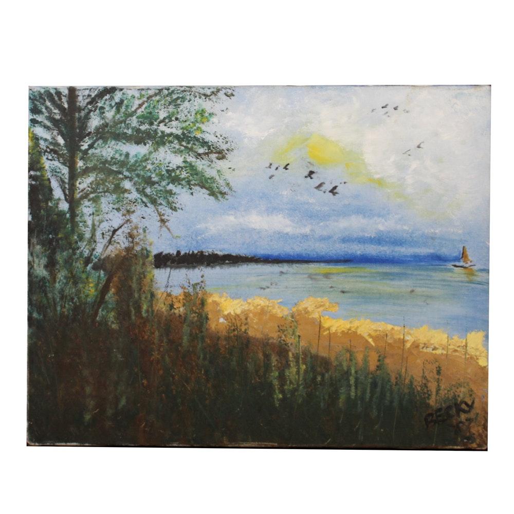Becky Oil Painting of Lake Scene