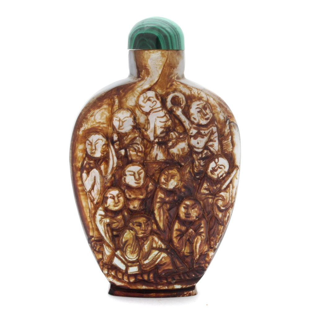 Chinese Carved Agate Snuff Bottle with Malachite Stopper