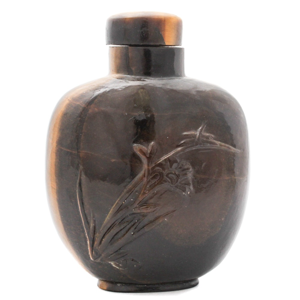 Chinese Carved Tiger's Eye Snuff Bottle