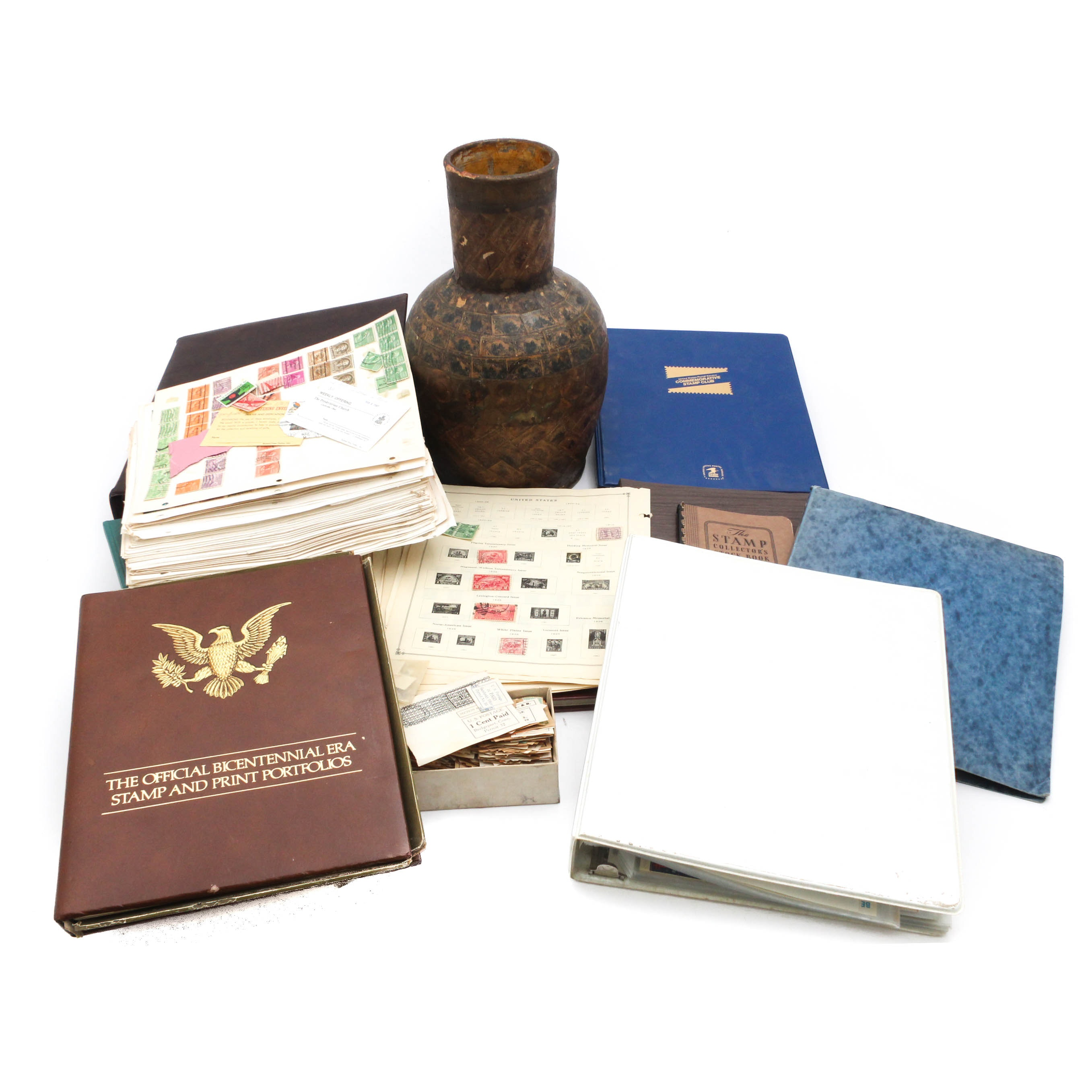 United States Stamp Collection and Stamp-Covered Vase