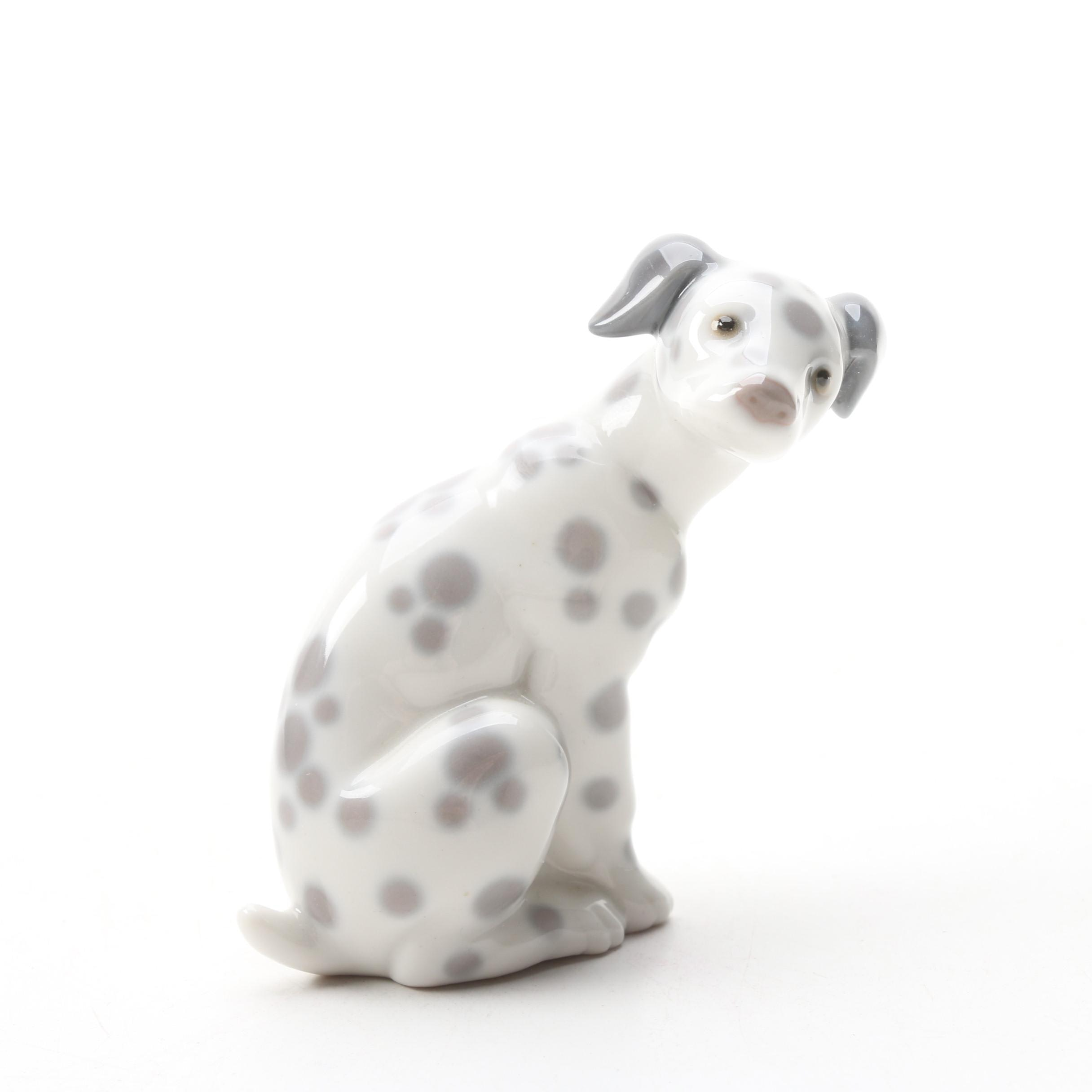 "Lladró ""Dalmatian Sitting"" Glazed Porcelain Figurine, 1974"