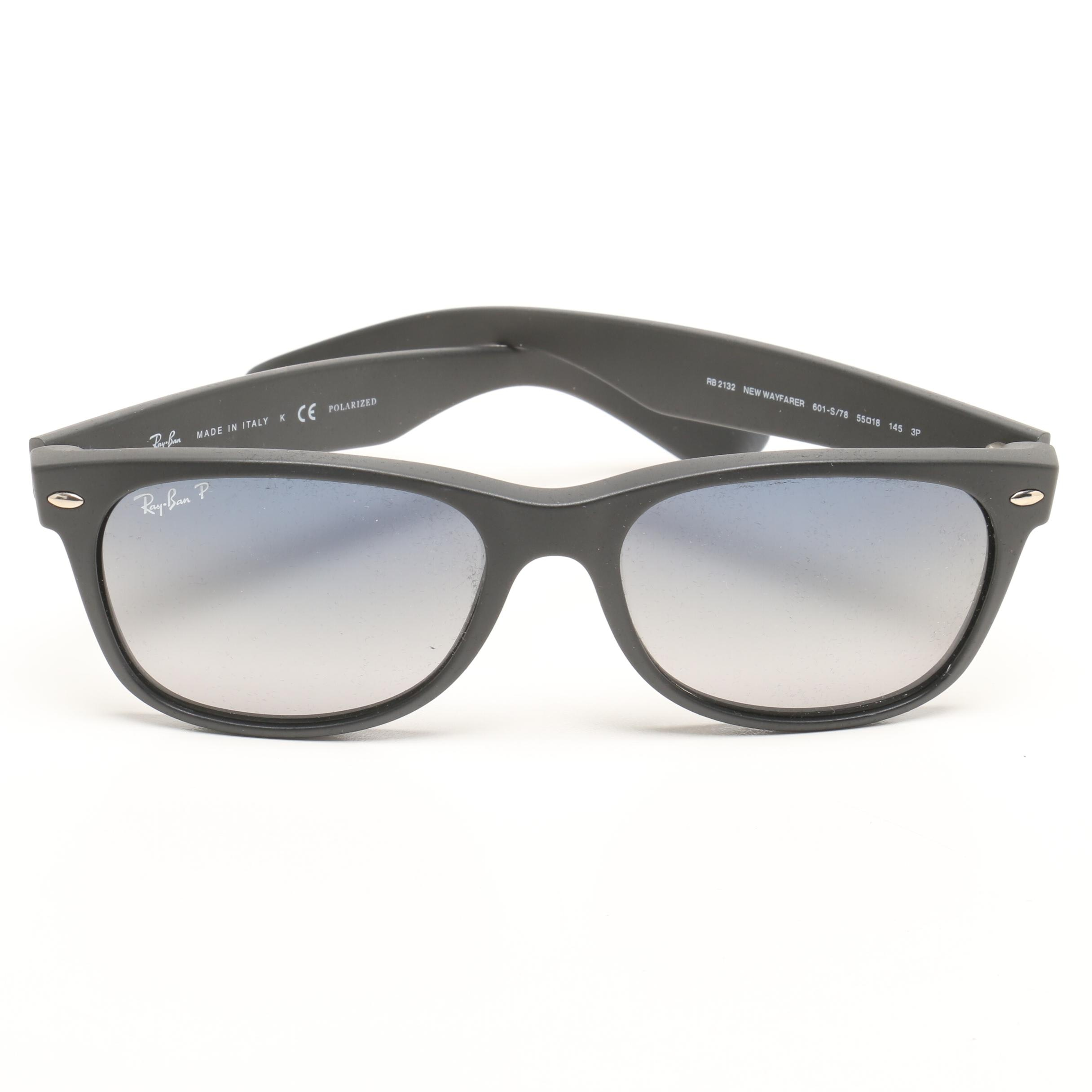 Ray-Ban RB2132 New Wayfarer Polarized Sunglasses with Case, Made in Italy