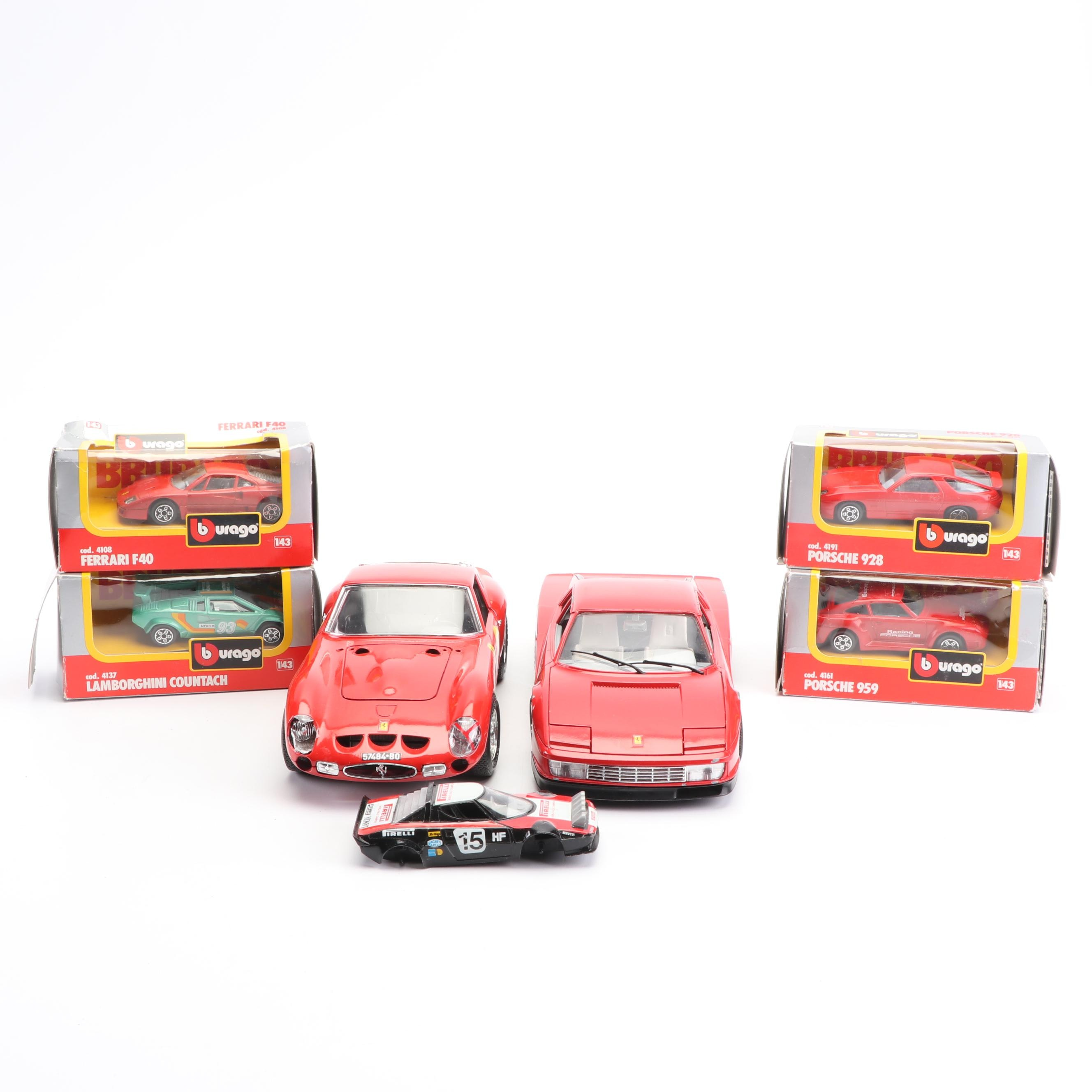 Bburago Die-Cast Model Cars including Ferrari, Porsche and Lamborghini