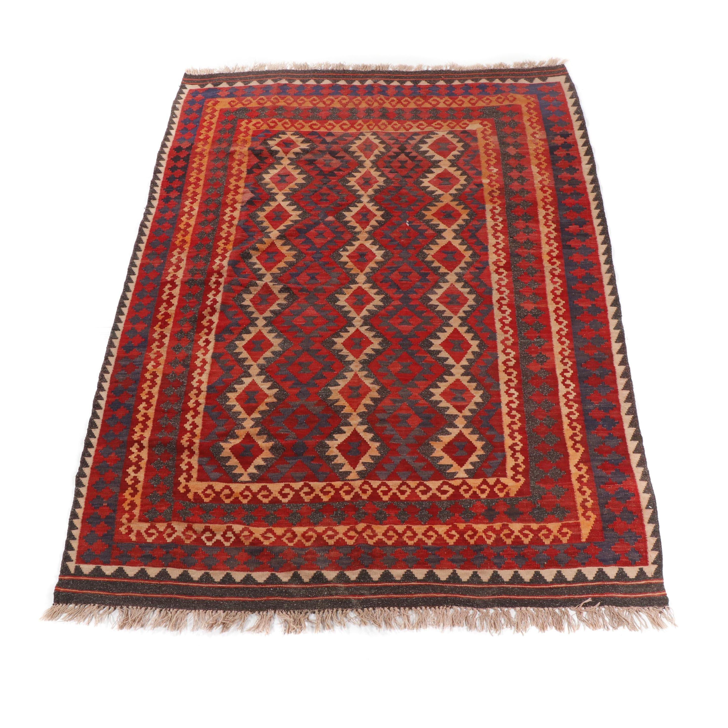 Hand-Knotted Afghani Kilim Wool Area Rug