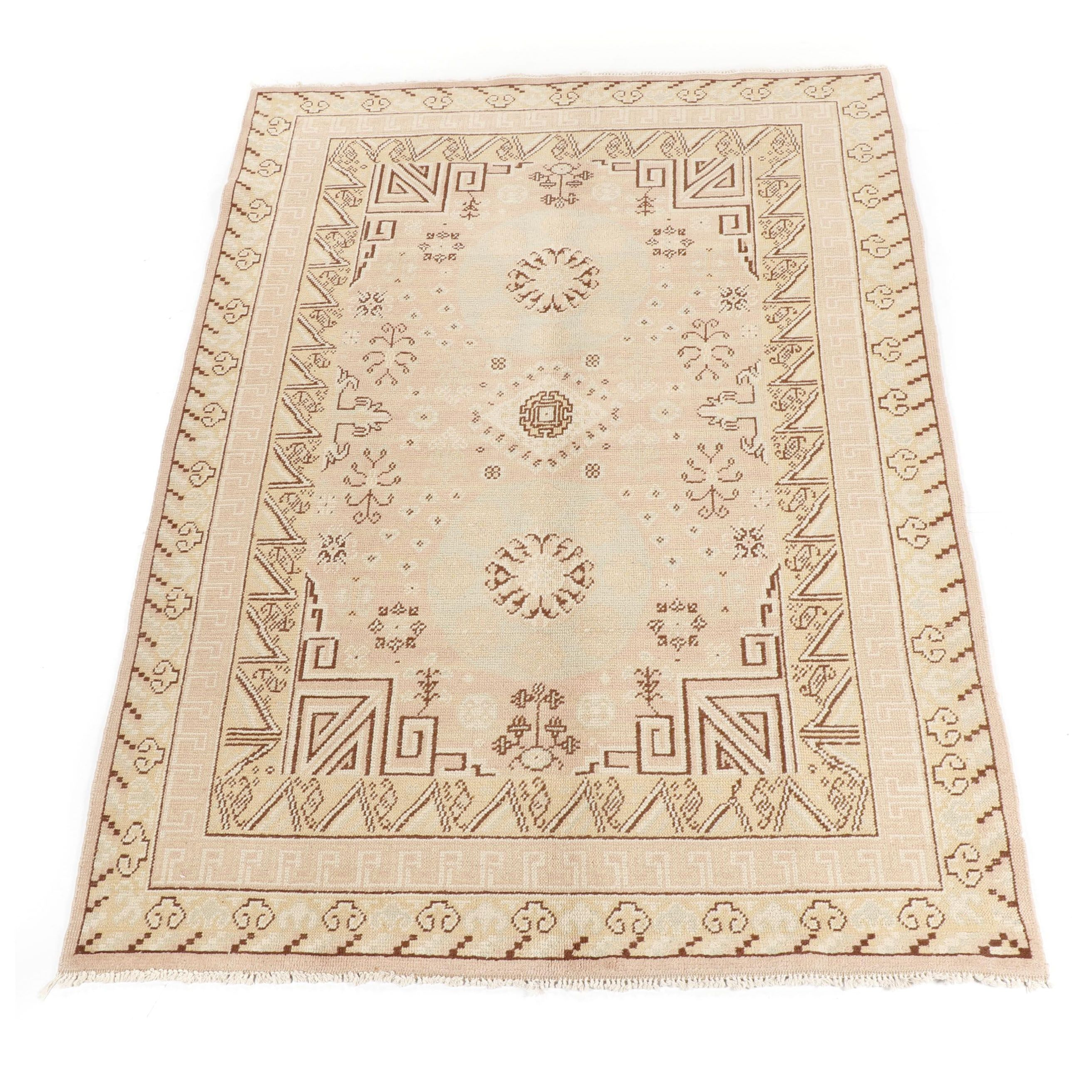 Hand-Knotted Romanian Khotan Wool Rug