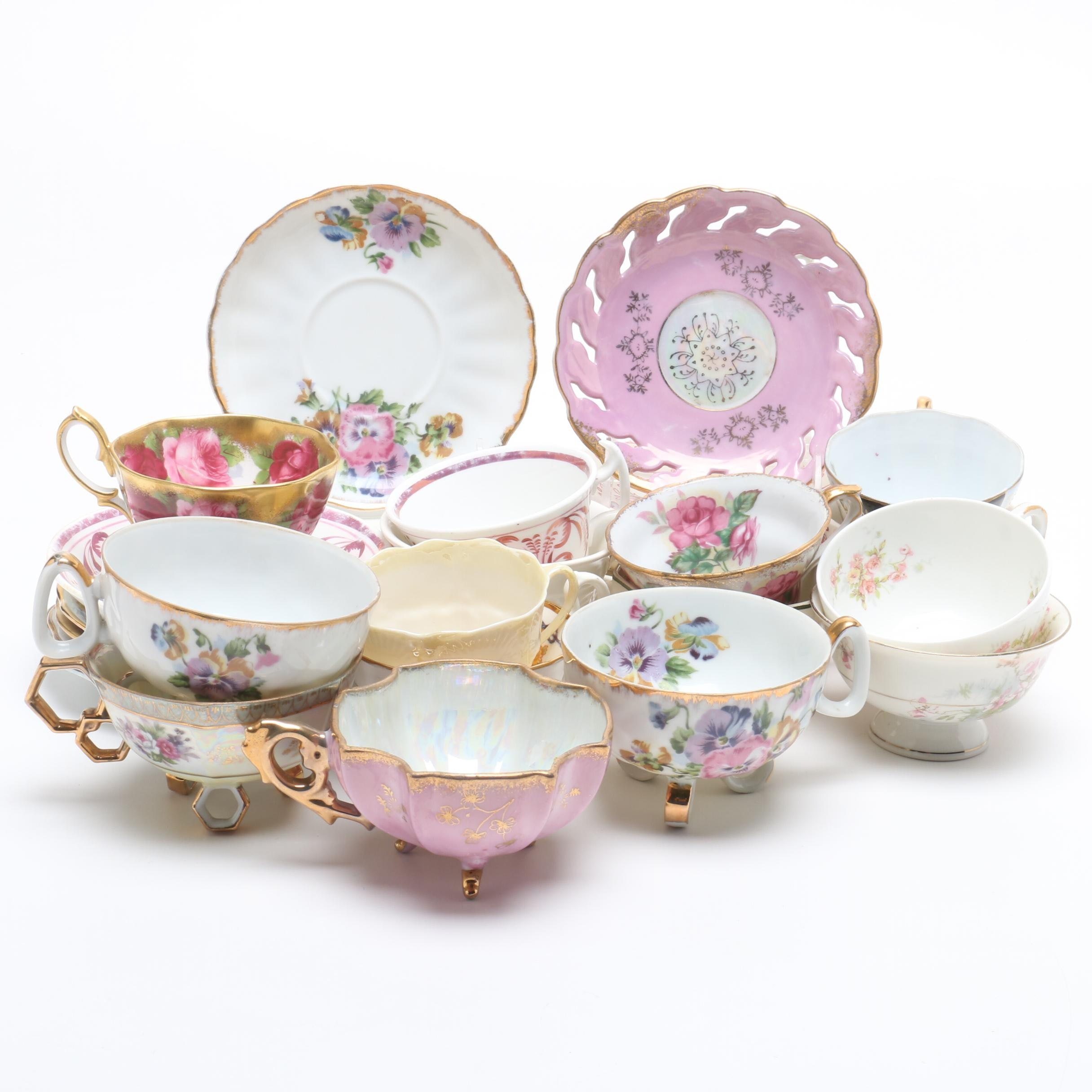Mixed Porcelain Teacups and Saucers Including Belleek, Limoges and More