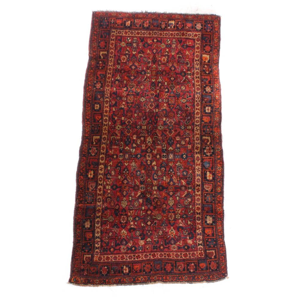 Hand-Knotted Persian Kurdish Bijar Wool Rug, Early to Mid 20th Century