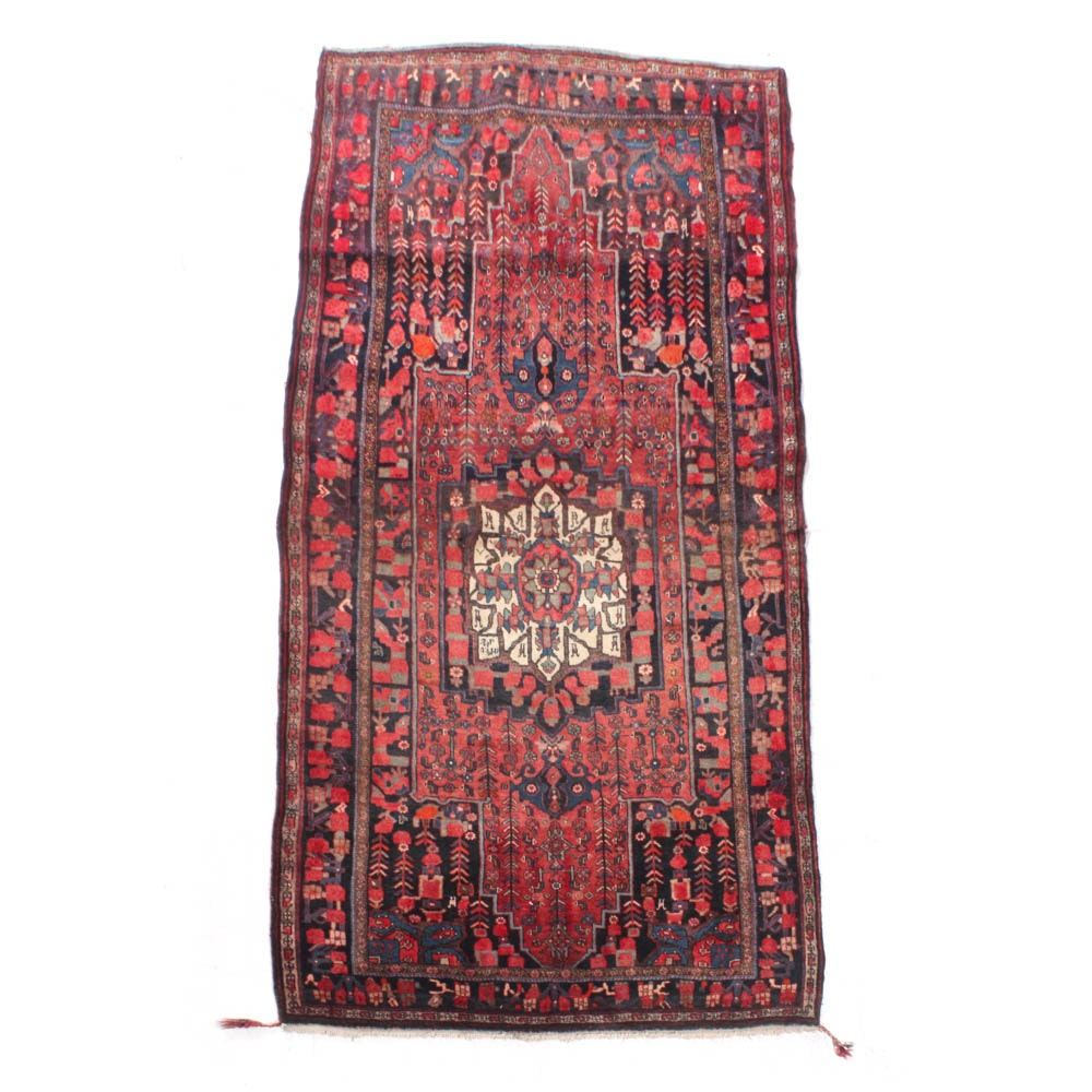 Hand-Knotted Persian Kurdish Bijar Rug, Early to Mid 20th Century