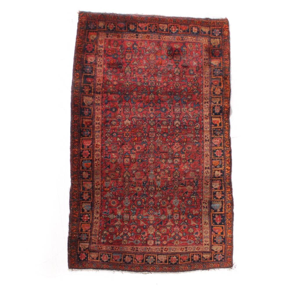 Hand-Knotted Persian Kurdish Bijar Rug, Early to Mid 20th Century