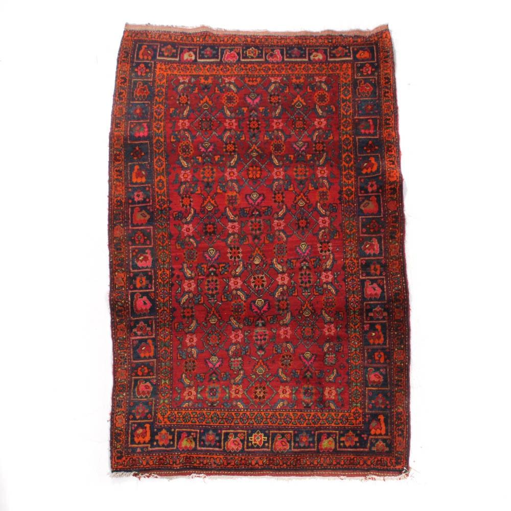Hand-Knotted Persian Kurdish Bijar Rug, Early to Mid-20th Century