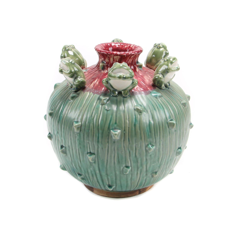 Majolica Style Frog Vase