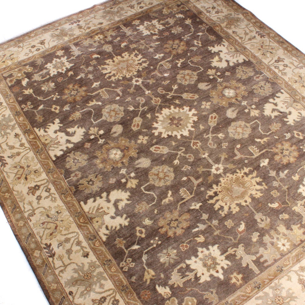 Hand-Knotted Arhaus Furniture Indo-Turkish Oushak Room Sized Rug, Late 20th C