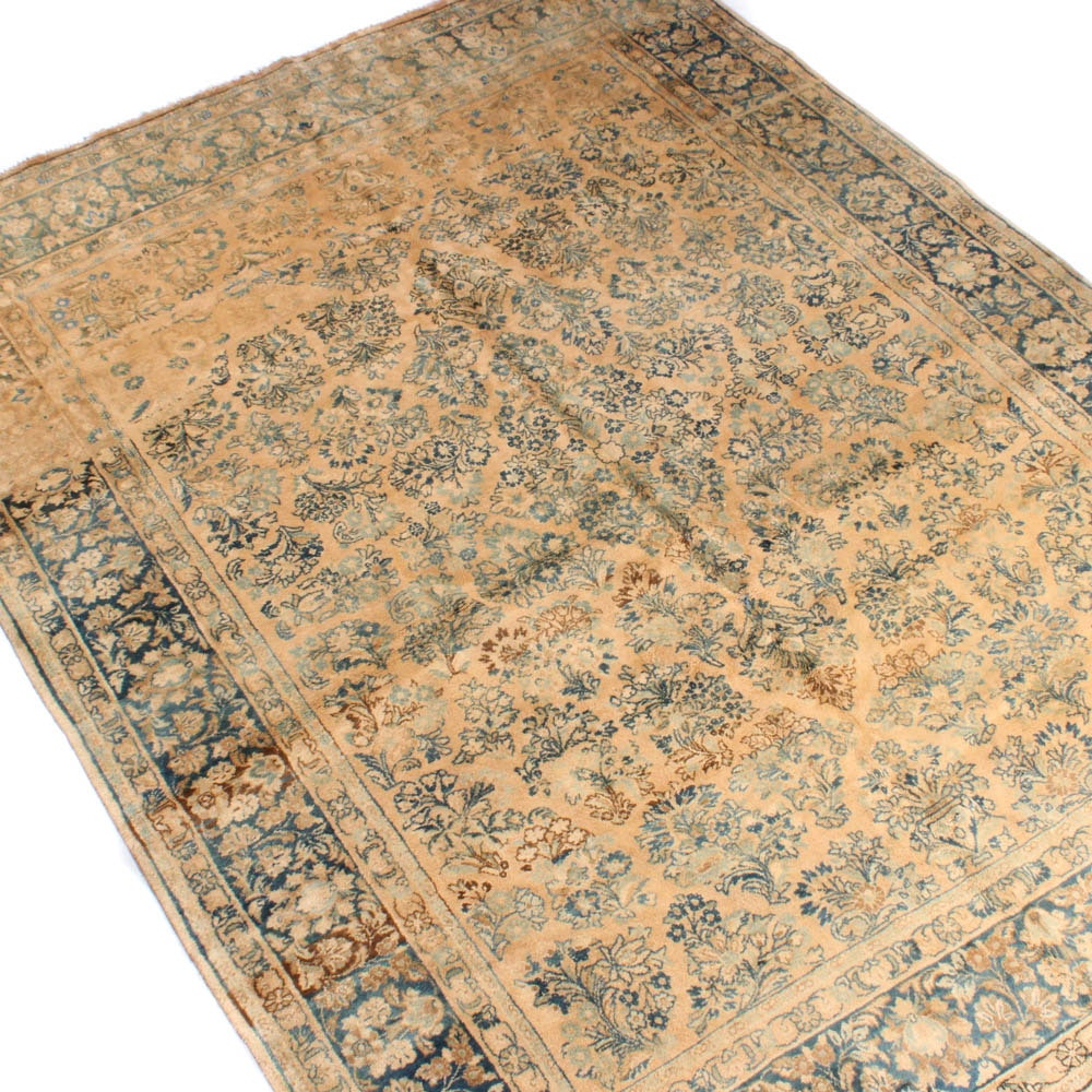 Hand-Knotted Persian Sarouk Rug, Mid to Late 19th Century