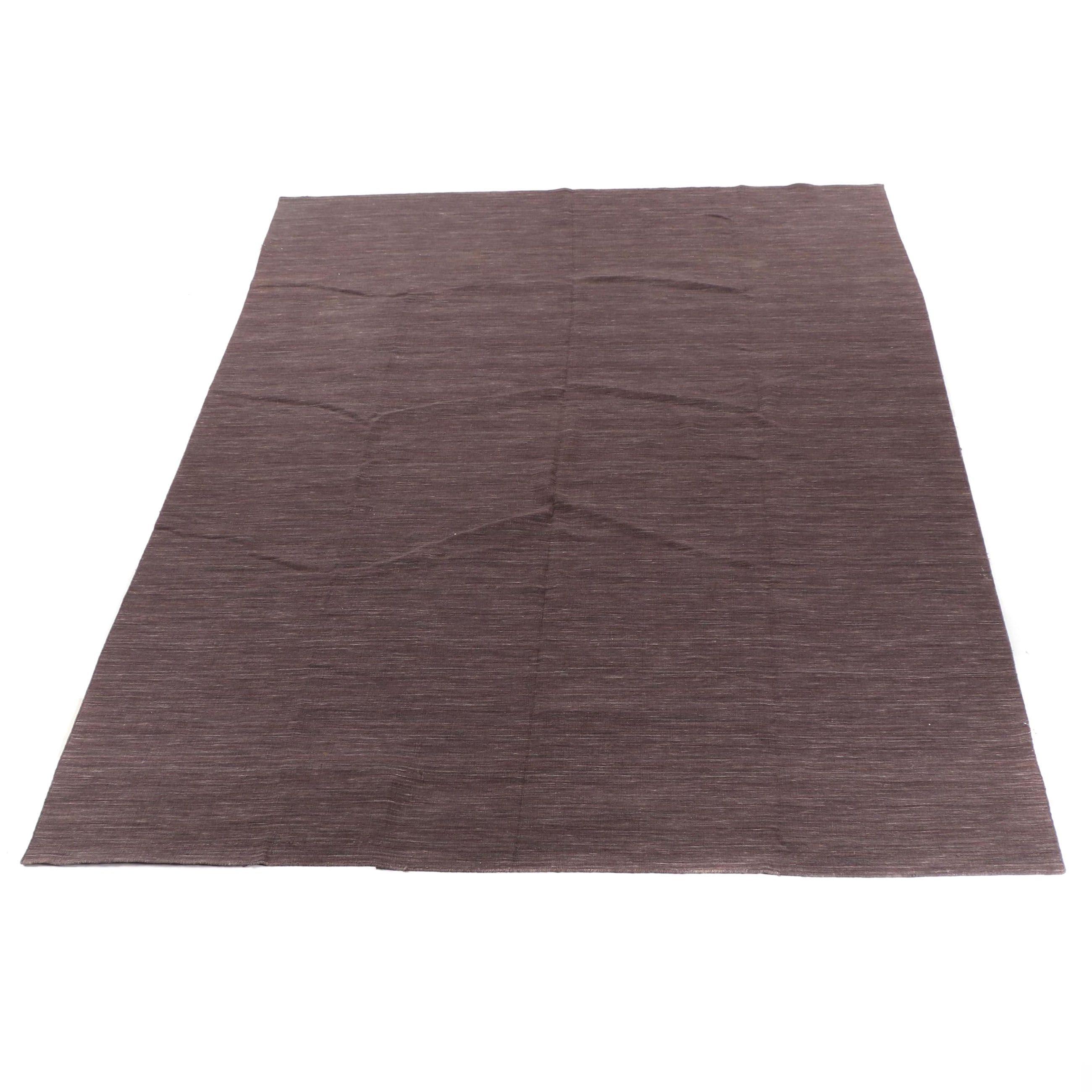 Handwoven Aubergine Indian Wool Room Sized Rug