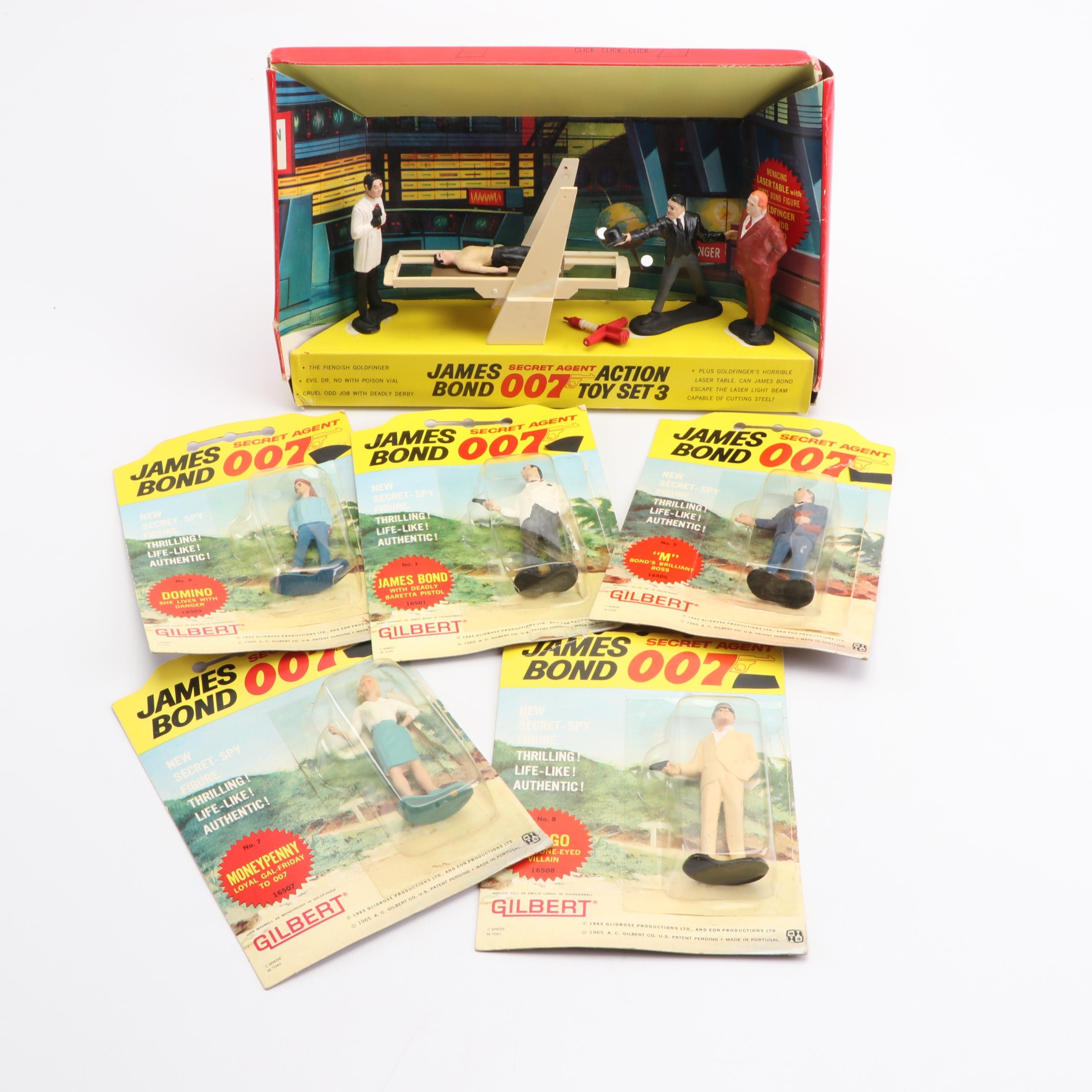 """James Bond """"Secret Agent 007"""" and """"Action Toy Set 3"""" Action Figures by Gilbert"""