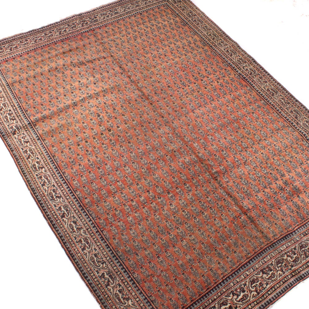 Hand-Knotted Persian Mir-Seraband Wool Rug, Mid-Century