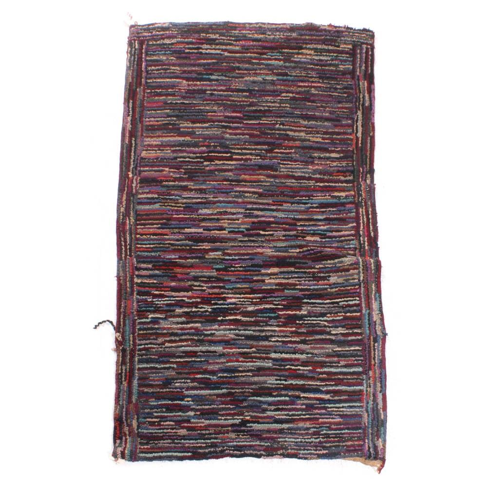 Handmade Hooked Rag Rug, Mid-Century