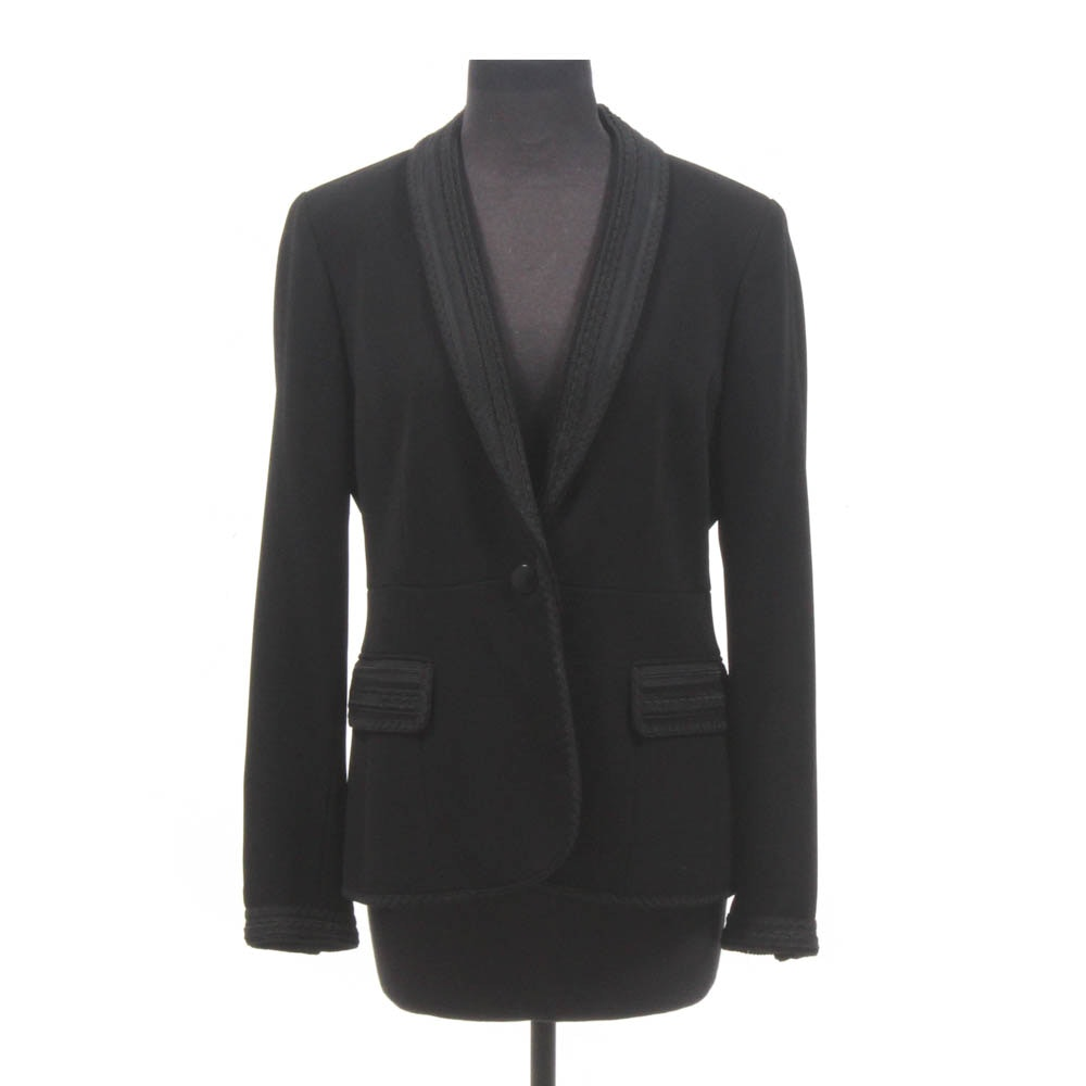 Anne Klein New York Black Blazer with Rick Rack Style Trim