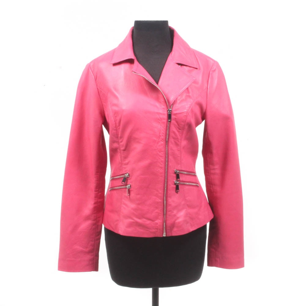 Neiman Marcus Exclusive Bubble Gum Pink Leather Motorcycle-Style Jacket