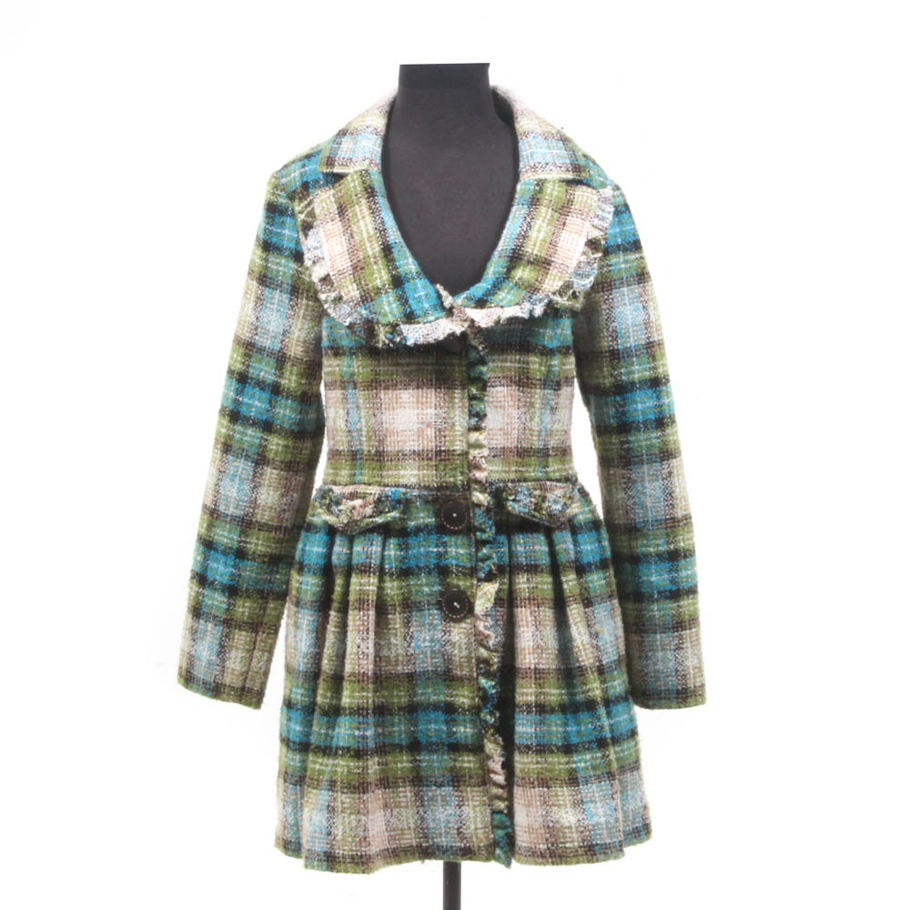 Women's Nick and Mo Pleated Plaid Peacoat in Acrylic and Wool Blend