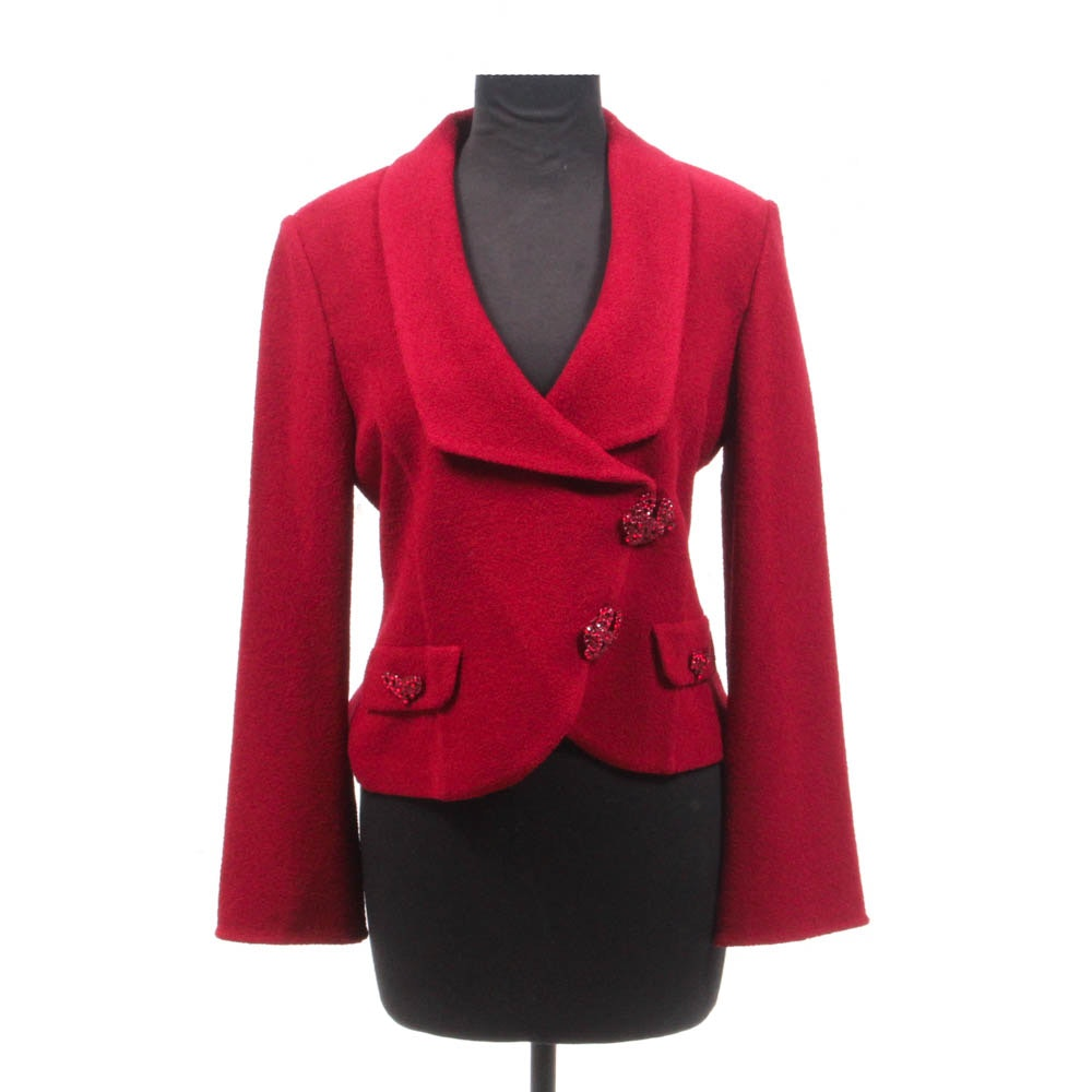 St. John Evening Red Knit Jacket with Rhinestones