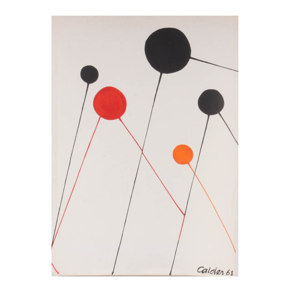 """Alexander Calder 1968 Color Lithograph """"Balloons"""""""