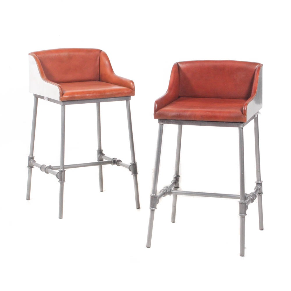 Industrial-Style Studded Leather Bar Chairs by Home Meridian
