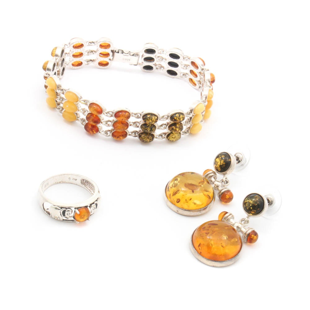 Sterling Silver Amber Bracelet, Ring, and Earrings