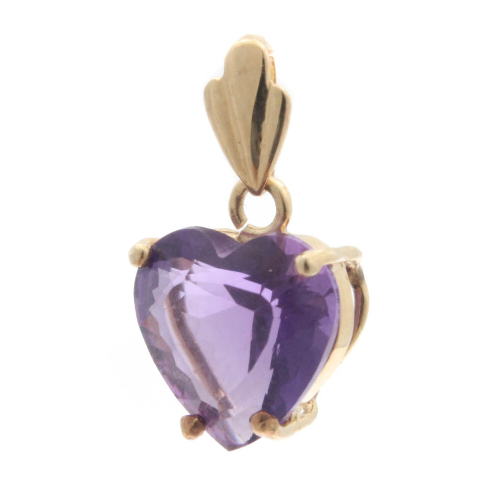 14K Yellow Gold Amethyst Heart Pendant