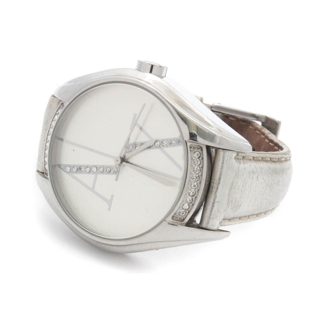Armani Exchange Metallic Leather Wristwatch