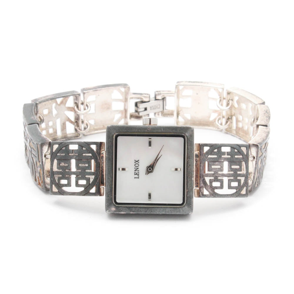 Lenox Sterling Silver and Mother of Pearl Wristwatch
