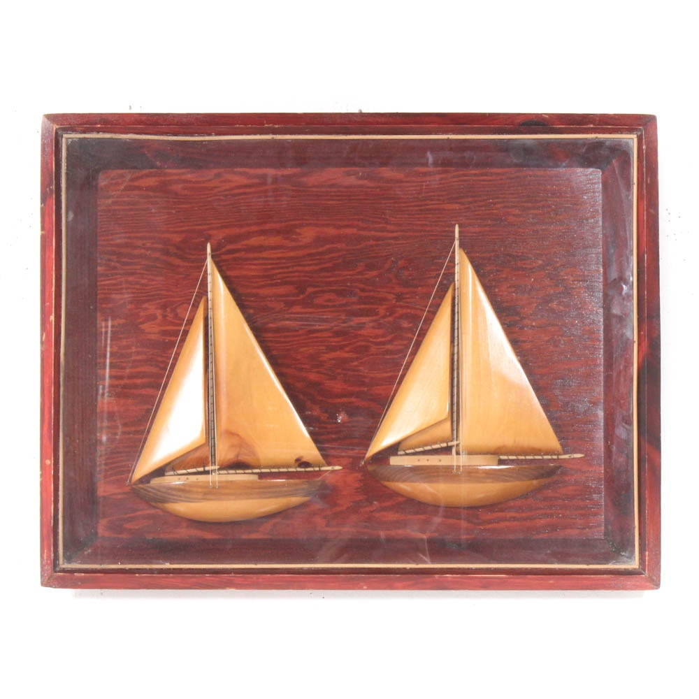 Shadowbox Mounted Carved Wood Sailboats