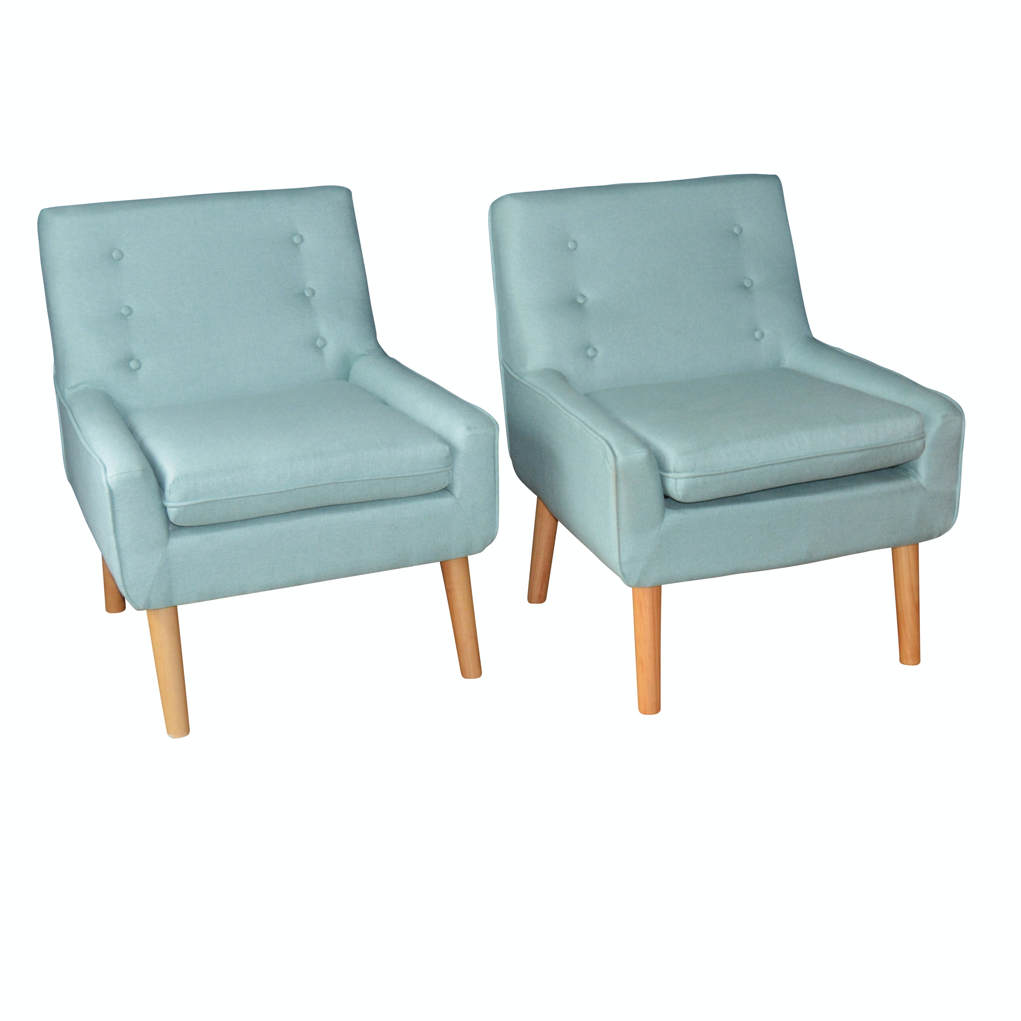 Mid Century Modern Style Sarah Upholstered Accent Chairs