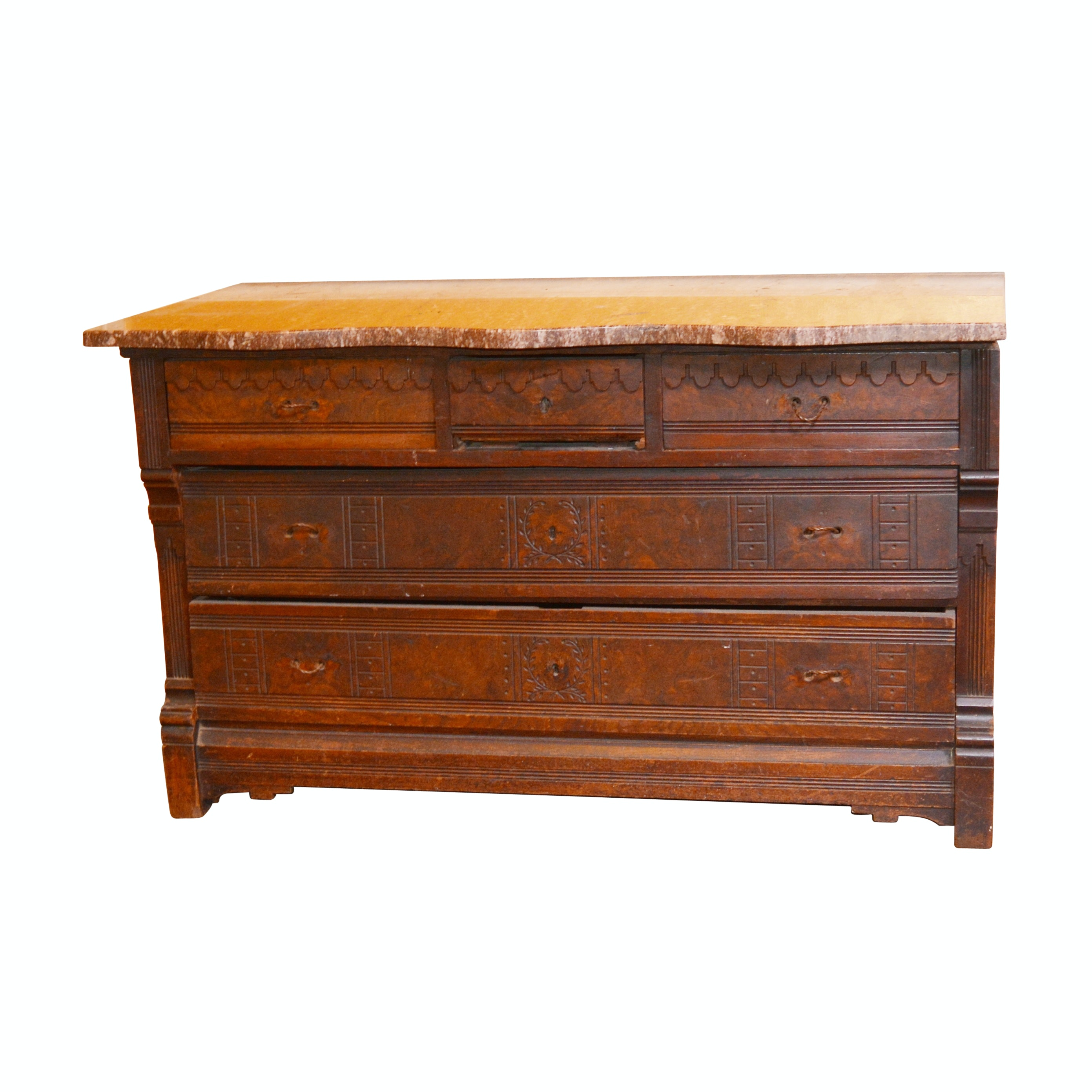 Eastlake Style Burled Walnut Chest of Drawers, Late 19th Century
