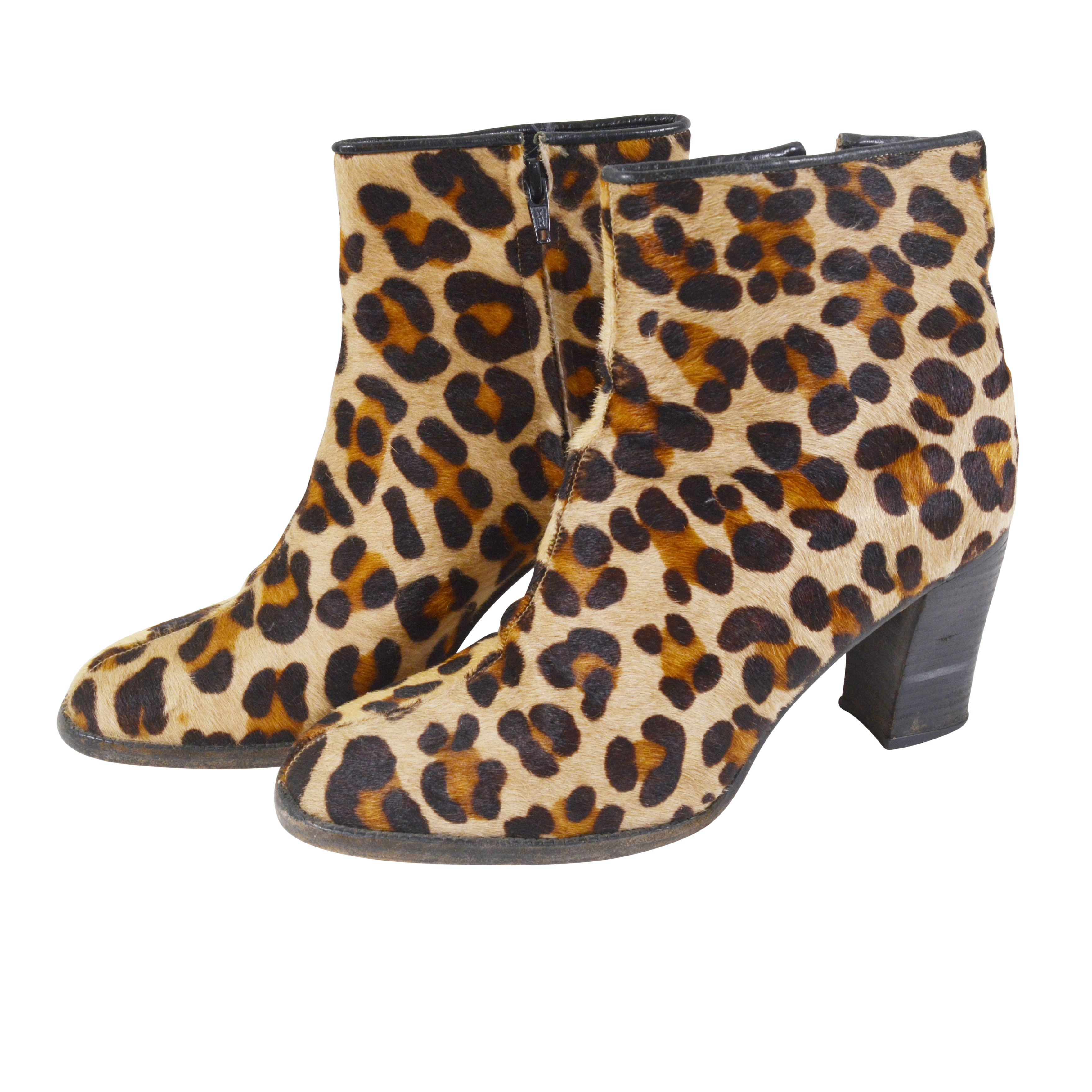 American Way Leopard Print Calf Hair Heeled Ankle Boots