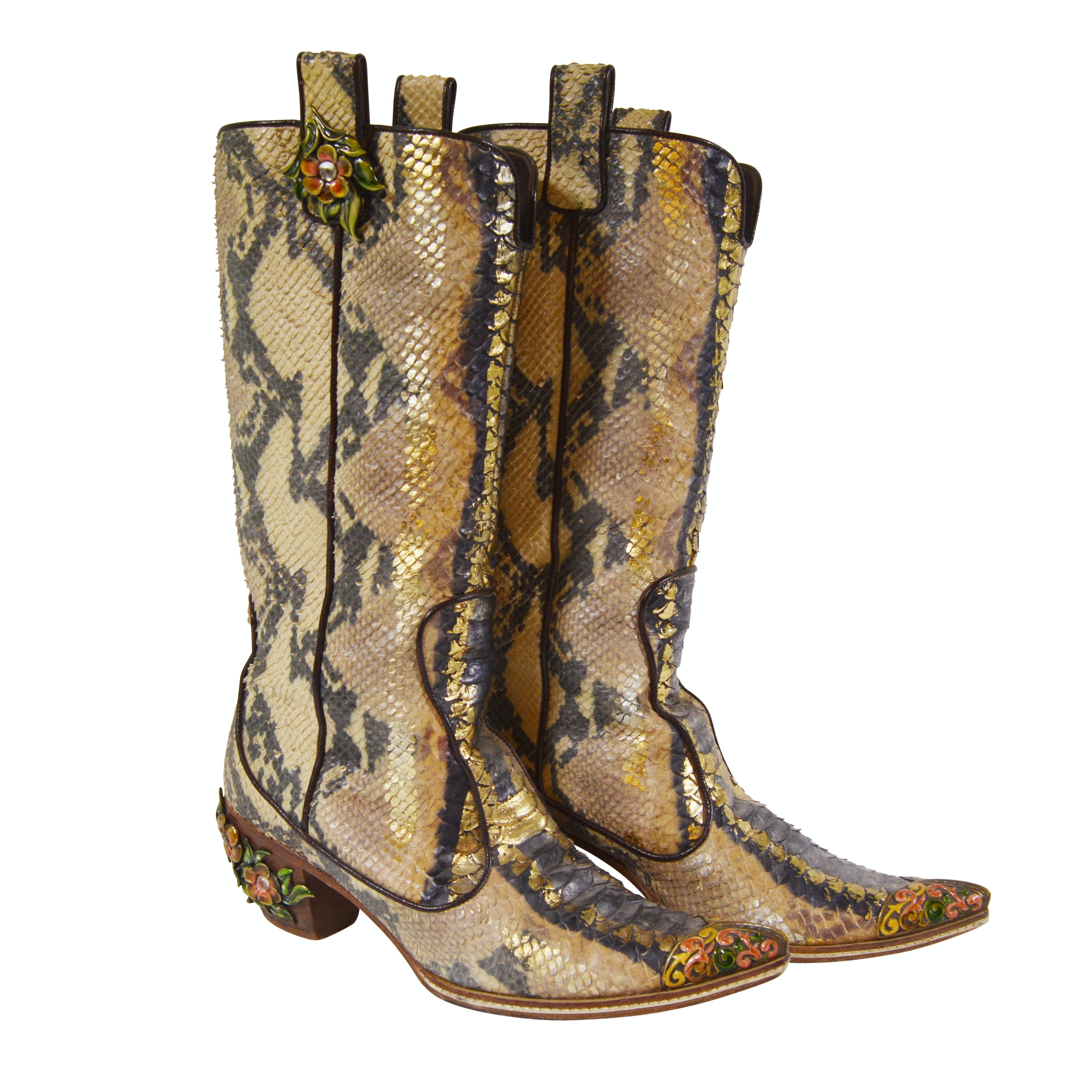 Giuseppe Zanotti Vincini Python Skin Western Boots with Enameled Florals