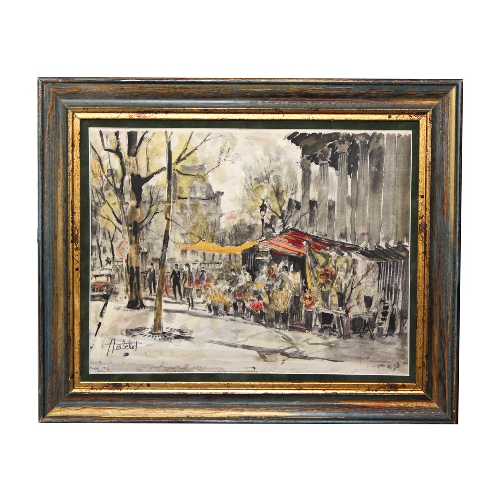 "Lithograph After Franz Herbelot ""Paris Study"""