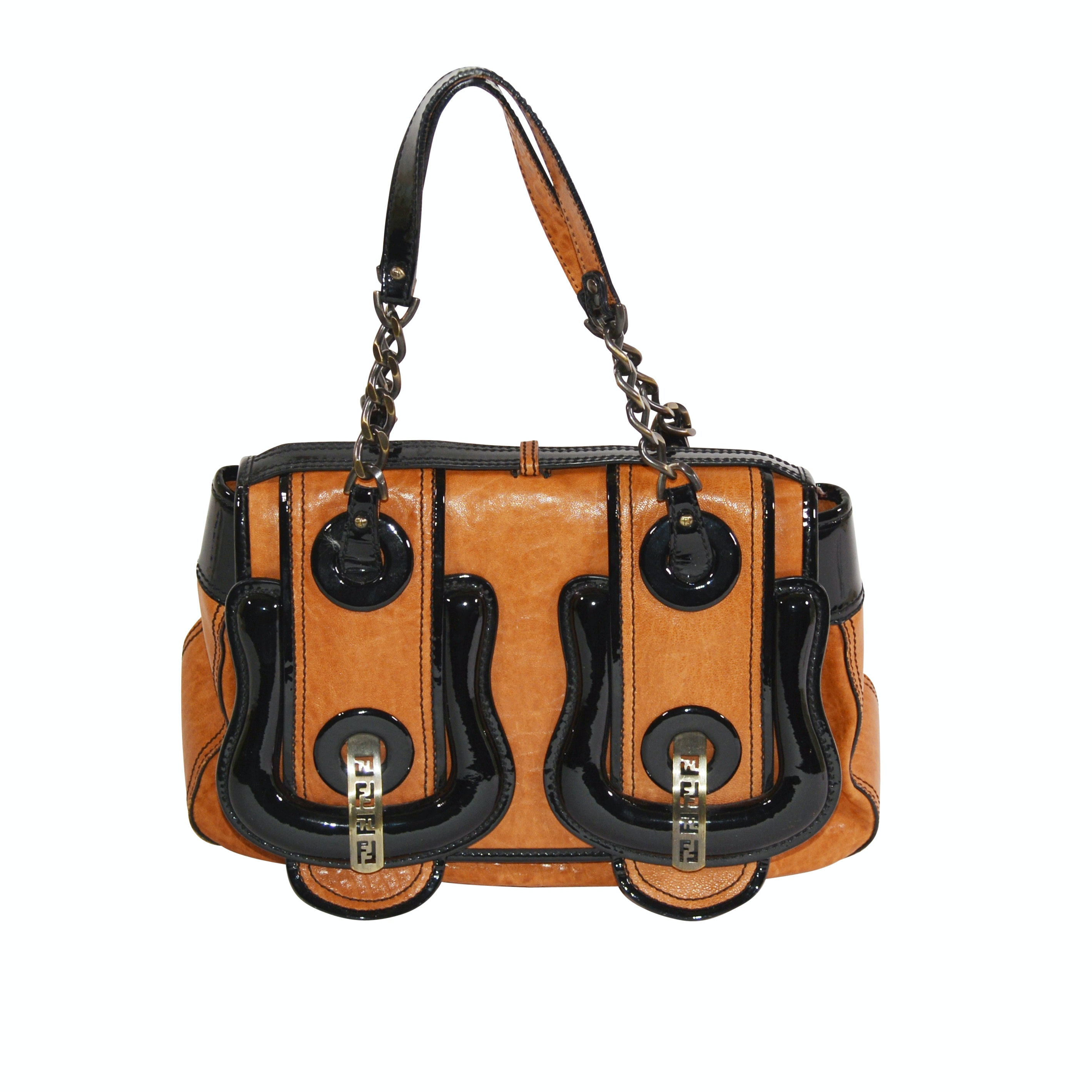 Fendi Cognac and Black Patent Leather Handbag, Made in Italy