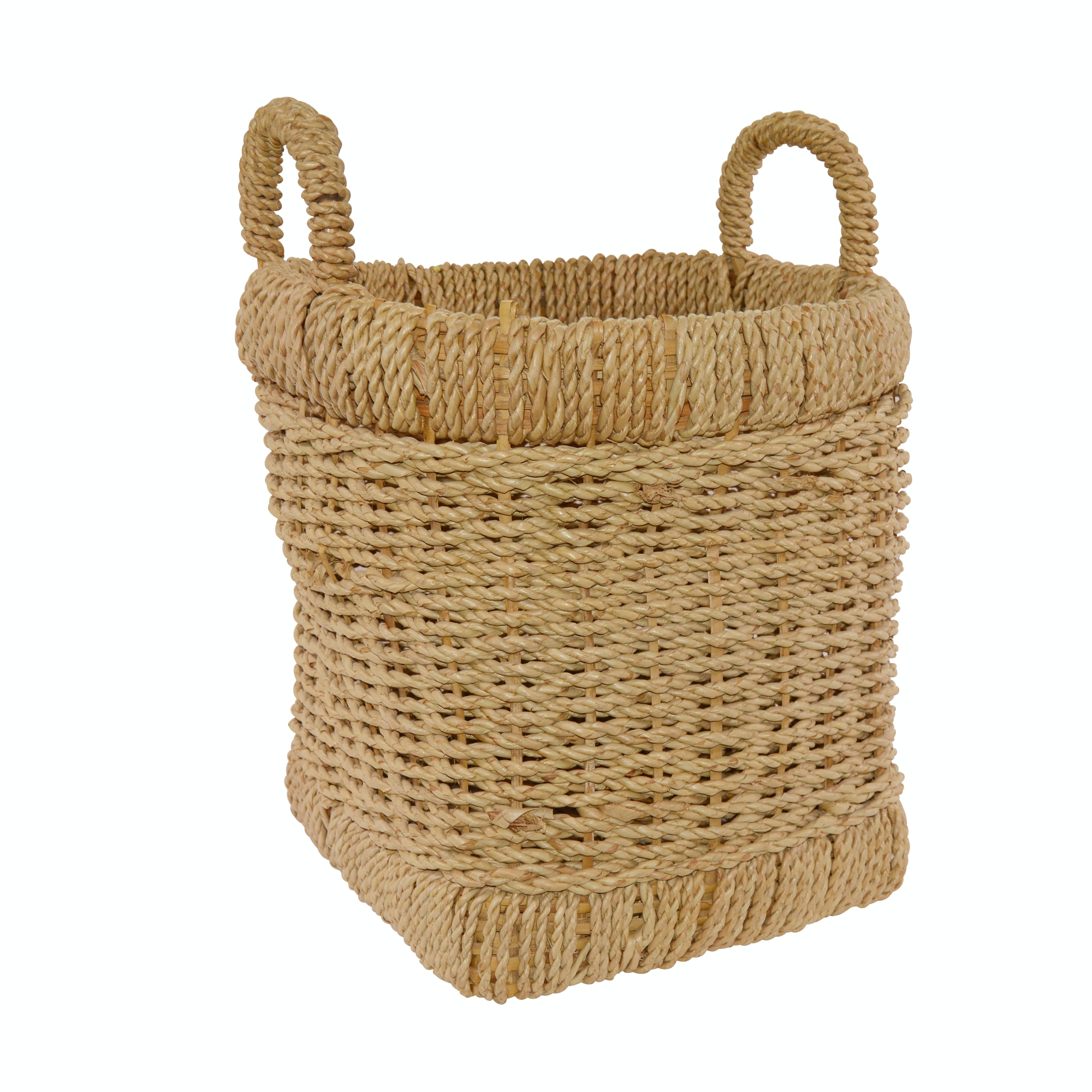 Large Rope Woven Basket with Handles