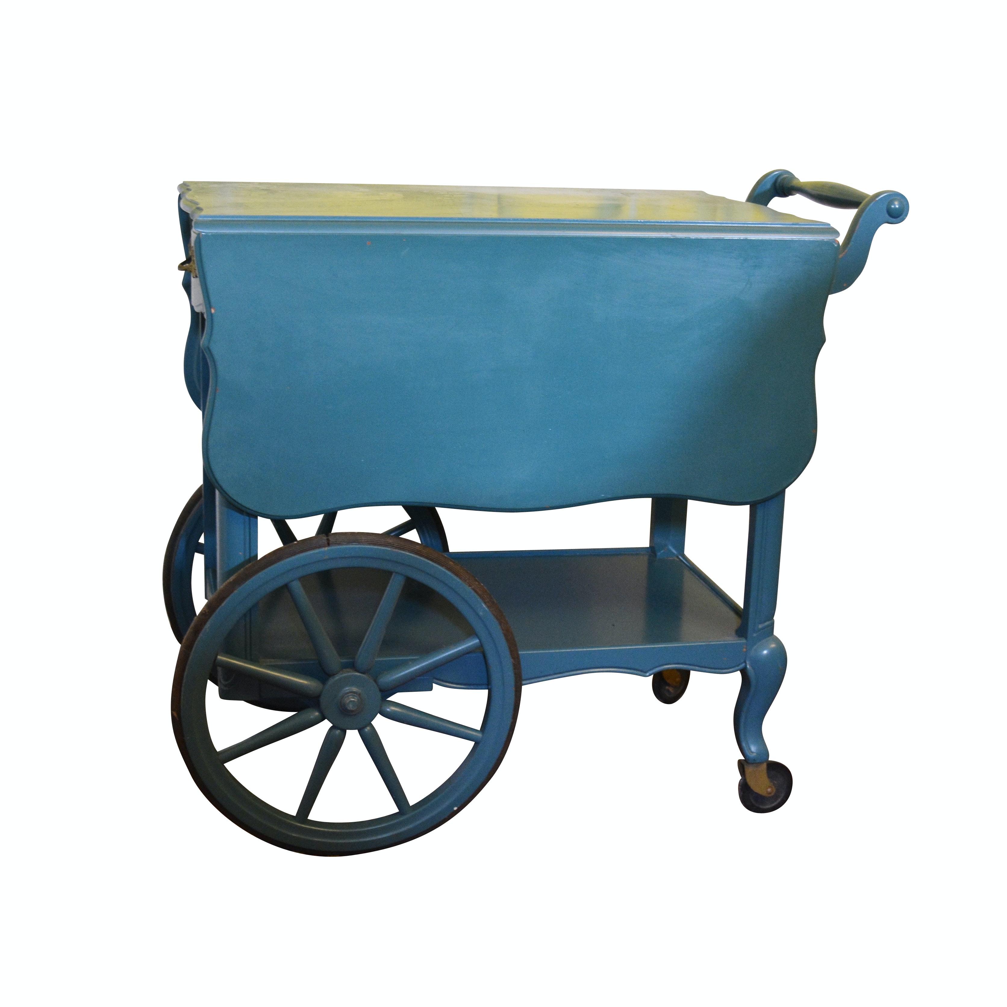 Painted Wood Drop Leaf Tea Cart, 20th Century