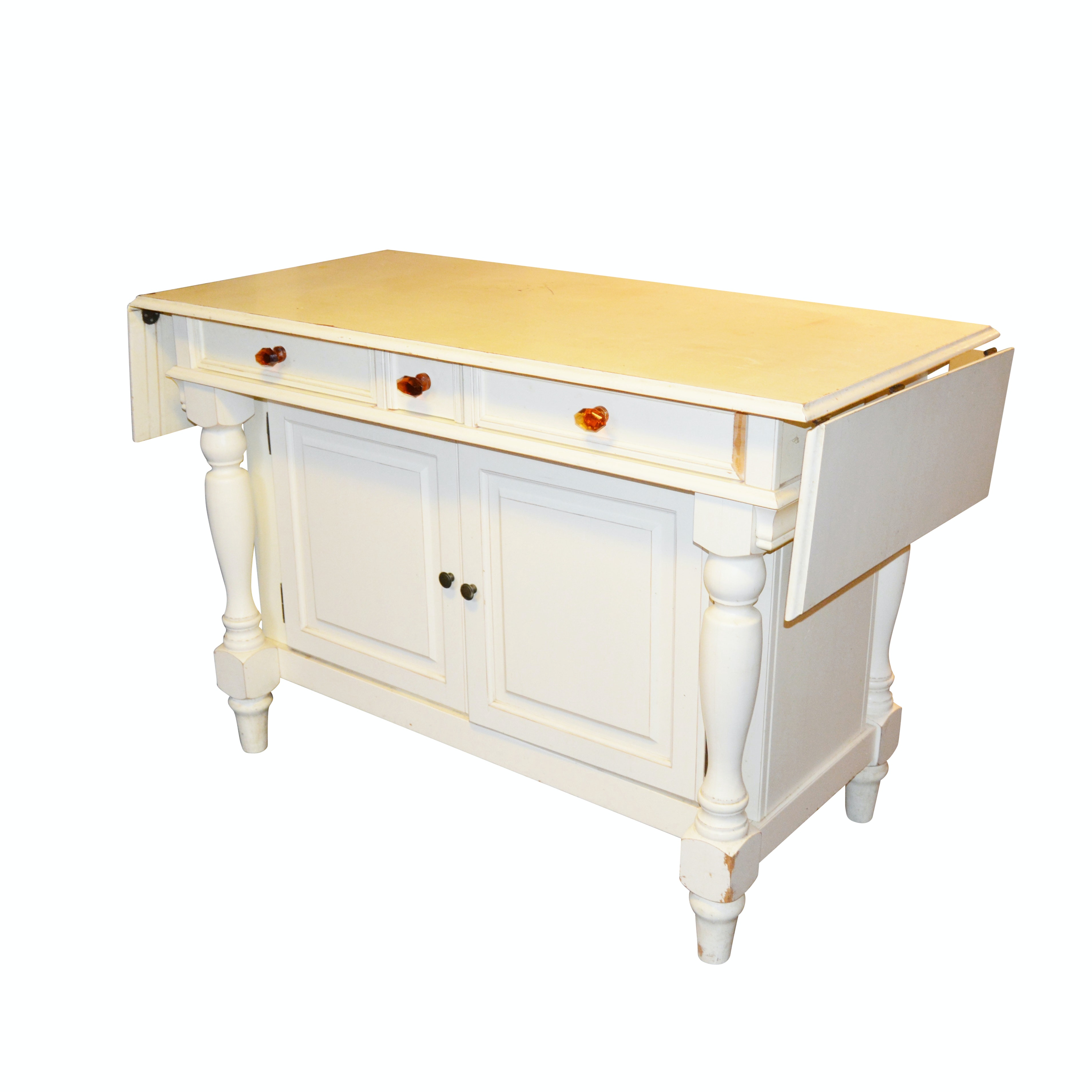 French Provincial Style White Kitchen Island by Frontgate