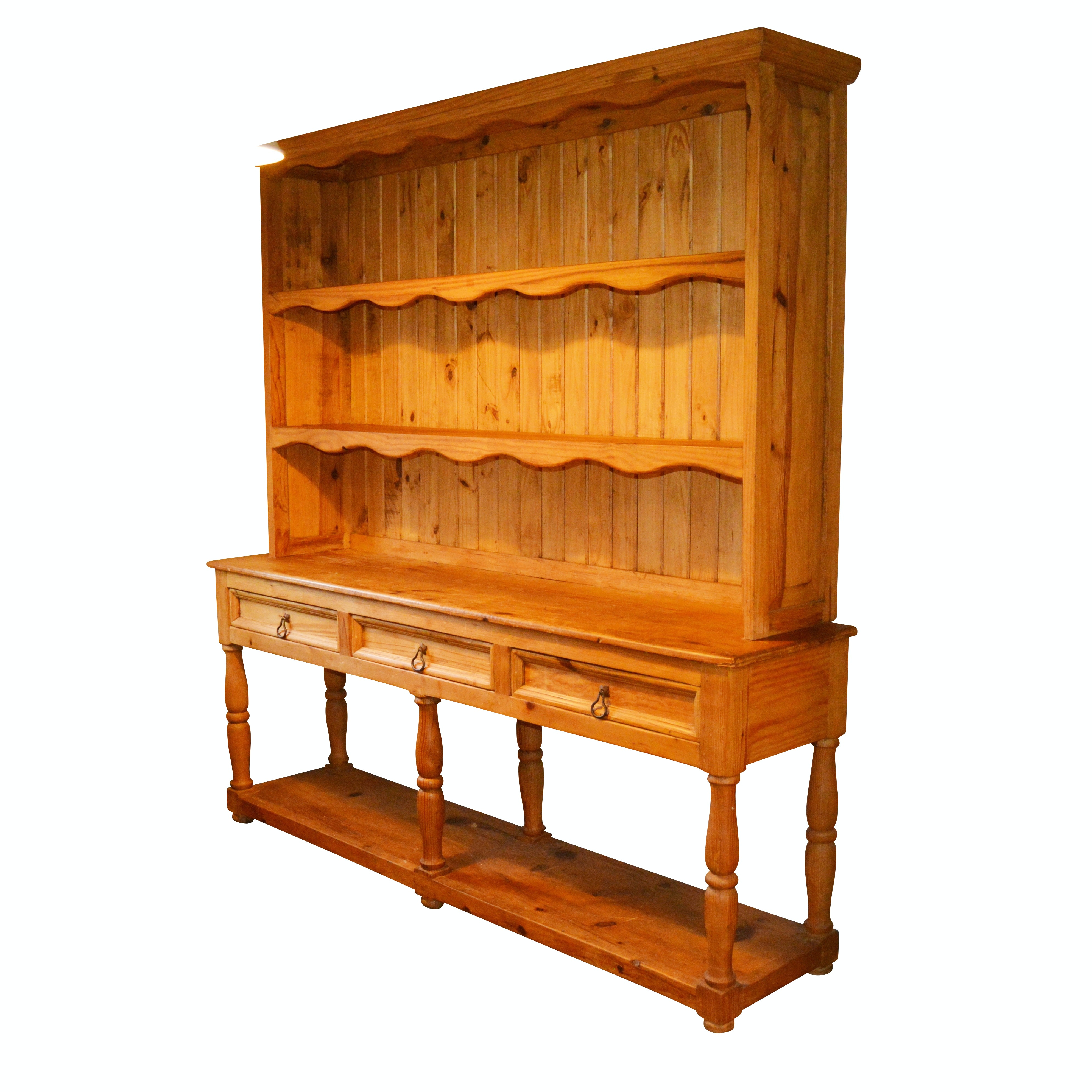 French Country Style Pine Hutch and Sideboard, 20th Century