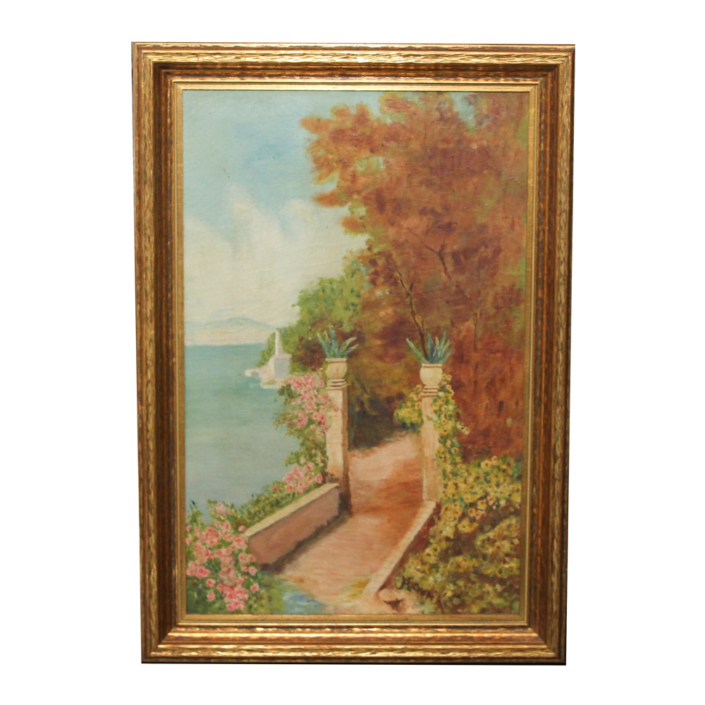 Neil Cronk Oil Painting of Garden Scene
